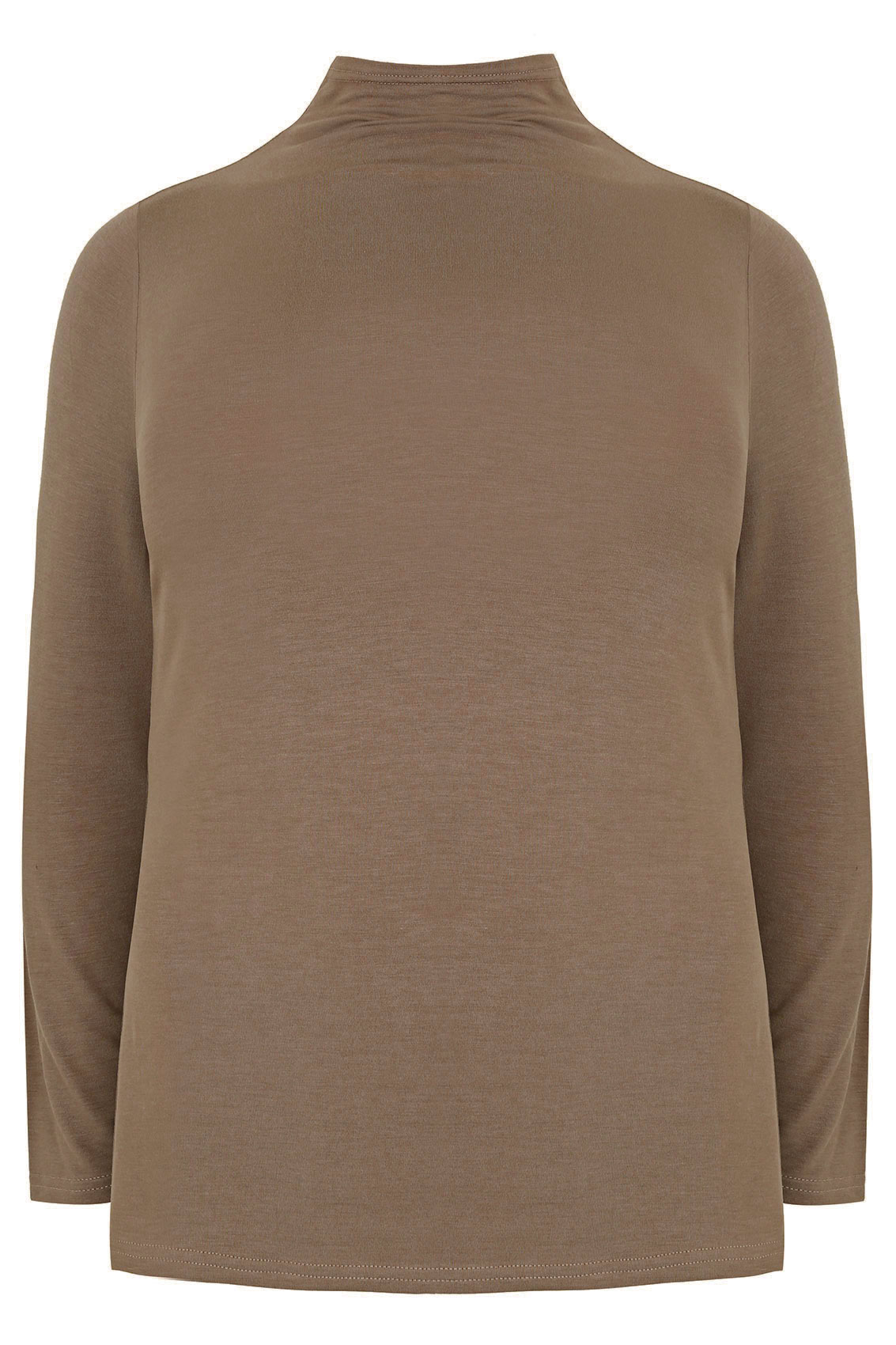 Taupe brown turtle neck long sleeved jersey top plus size 16 to 32 - Bruin taupe ...