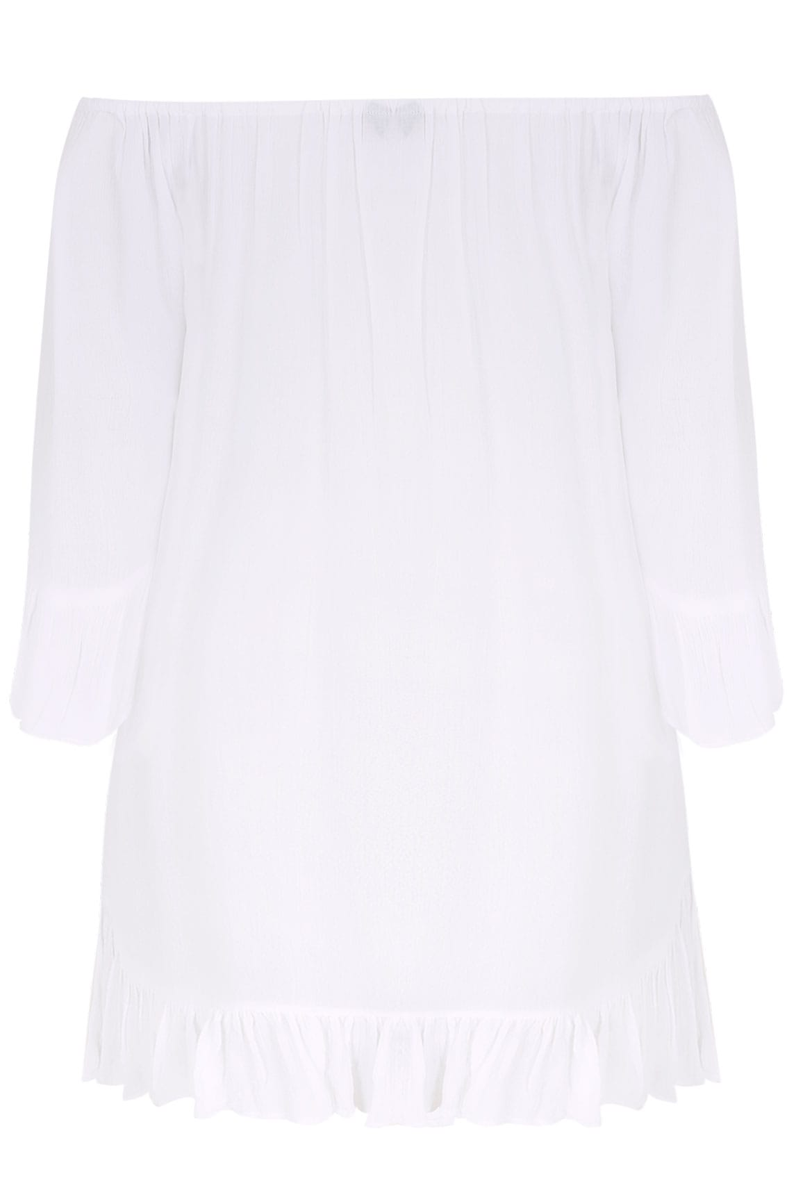 White bardot gypsy top with beaded details flute sleeves for Buy here pay later