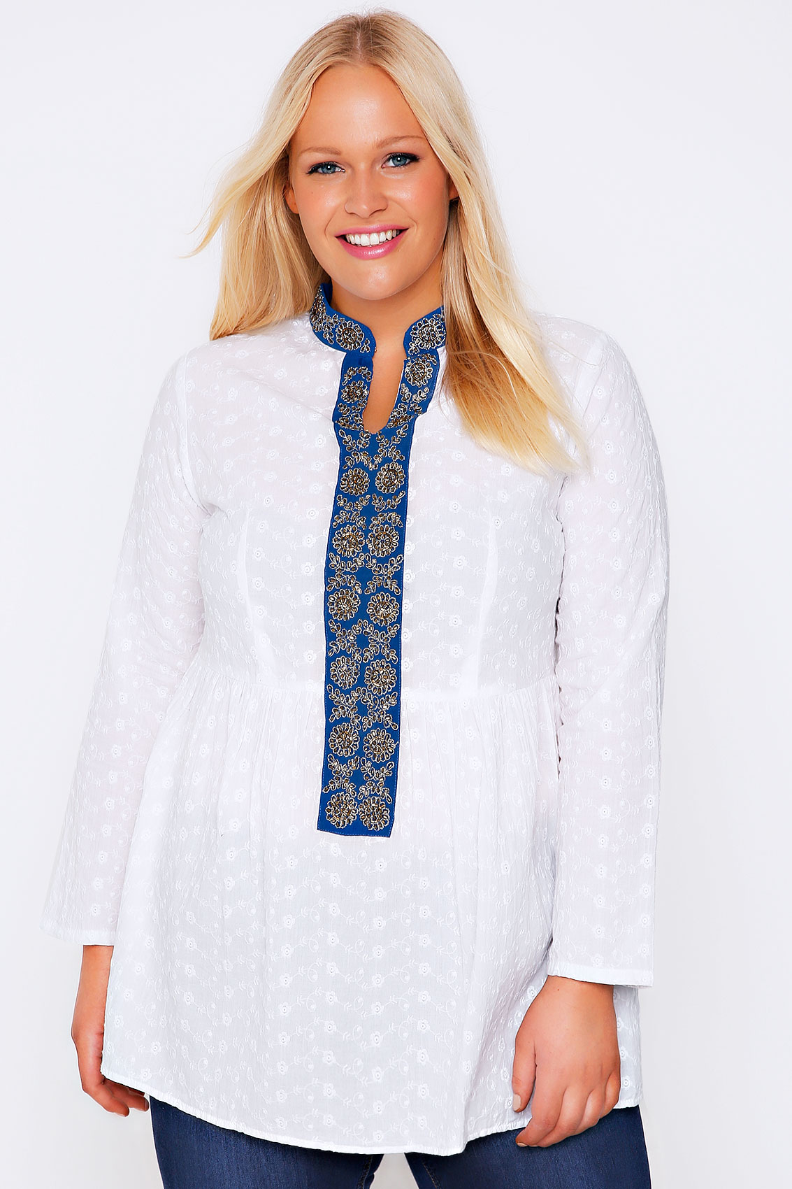 white  u0026 blue floral embroidered smock blouse plus size 16 to 32