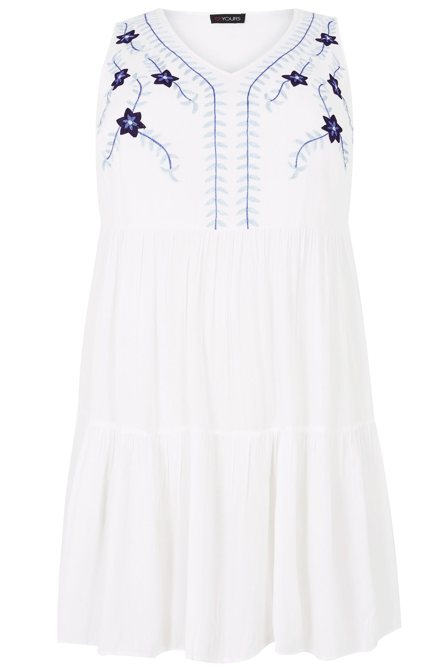white  u0026 blue floral embroidered tiered longline top  plus