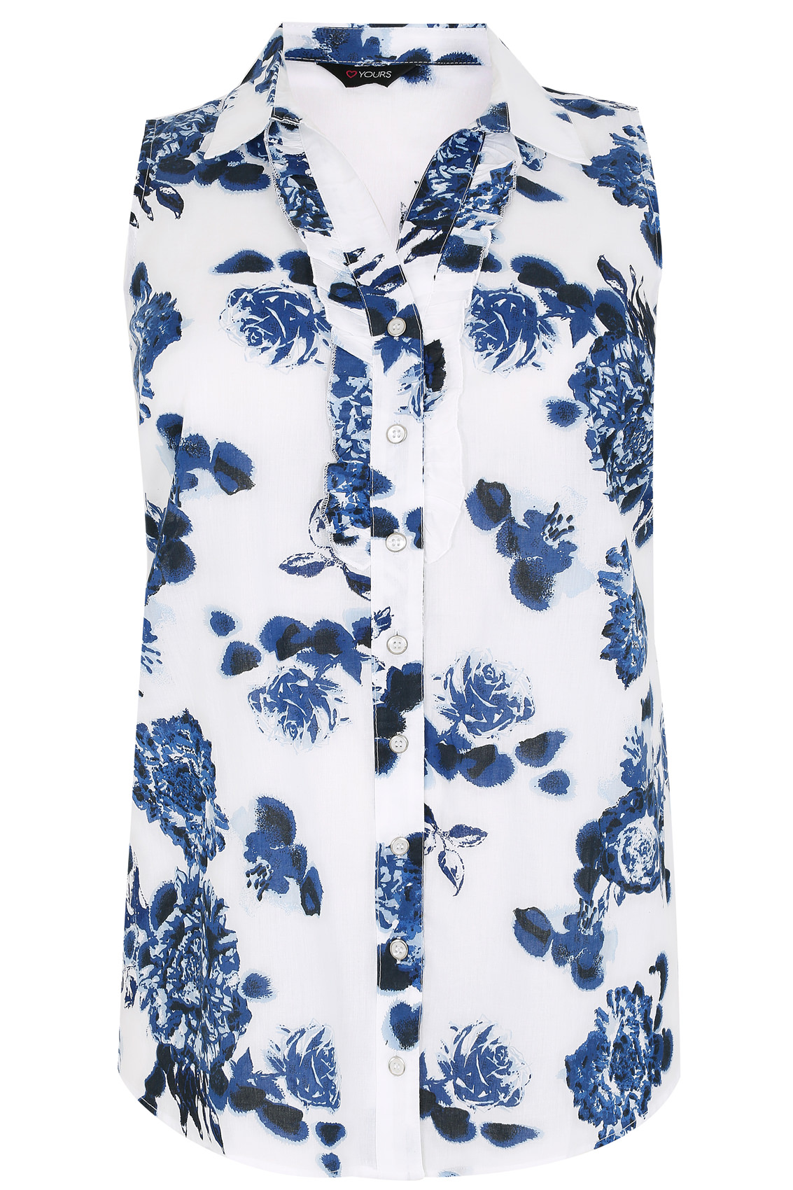 white  u0026 blue floral print sleeveless blouse with ruffle placket  plus size 16 to 36