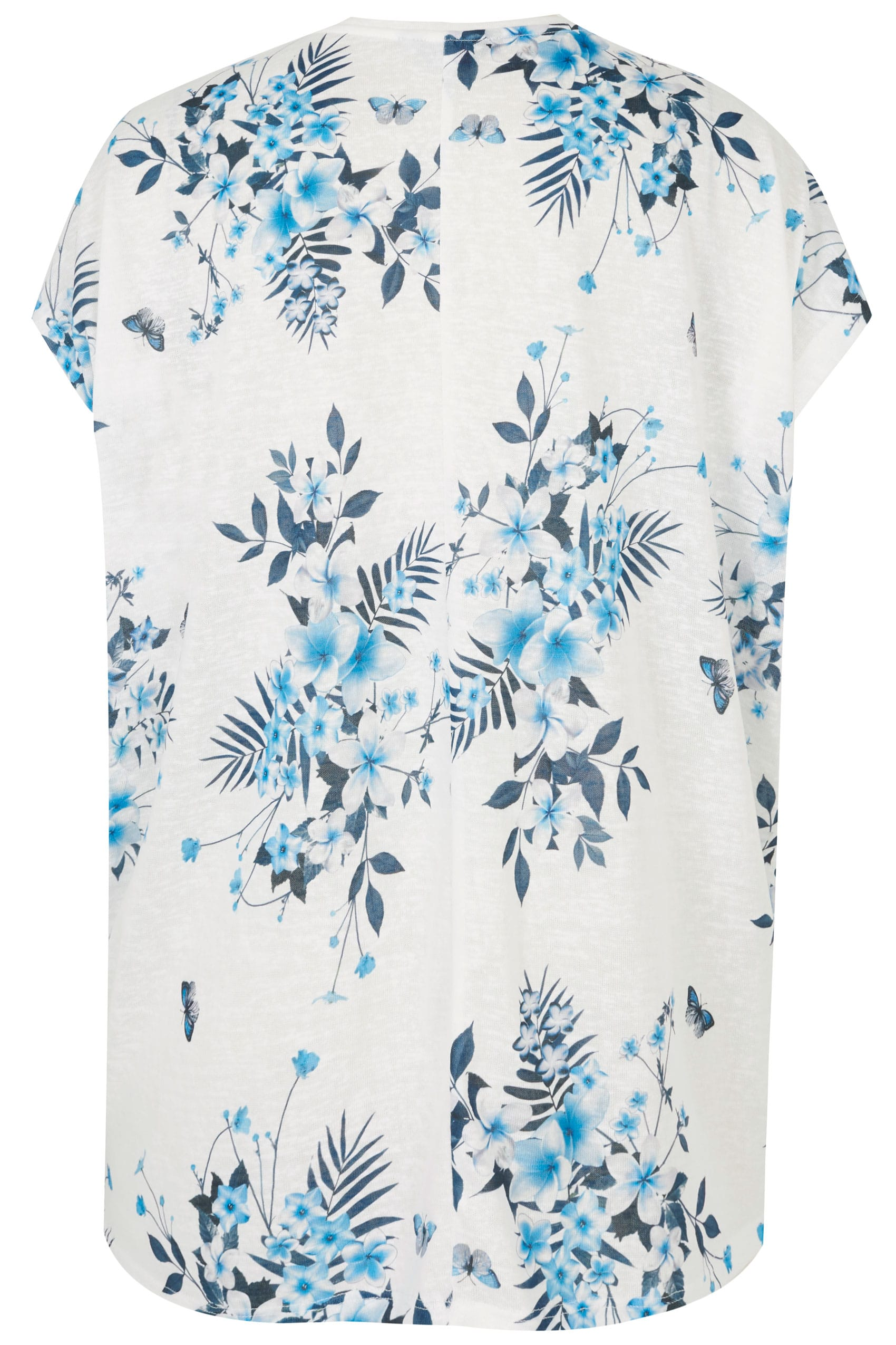 white blue floral print top with grown on sleeves plus size 16 to 36. Black Bedroom Furniture Sets. Home Design Ideas