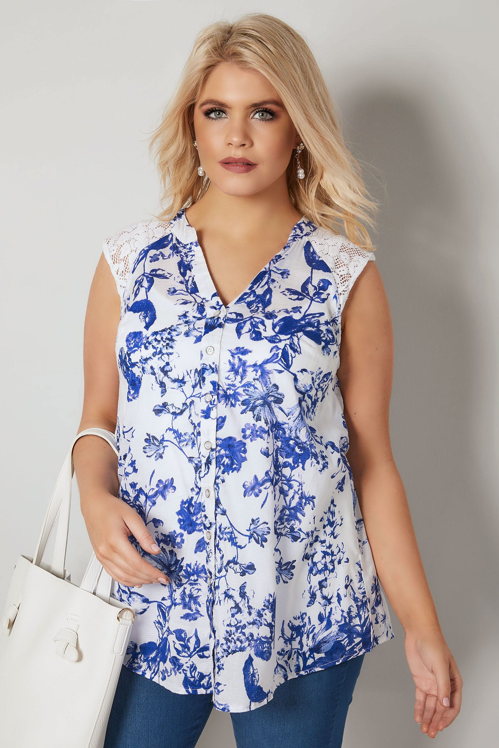 white  u0026 blue floral sleeveless shirt with crochet lace panels  plus size 16 to 36
