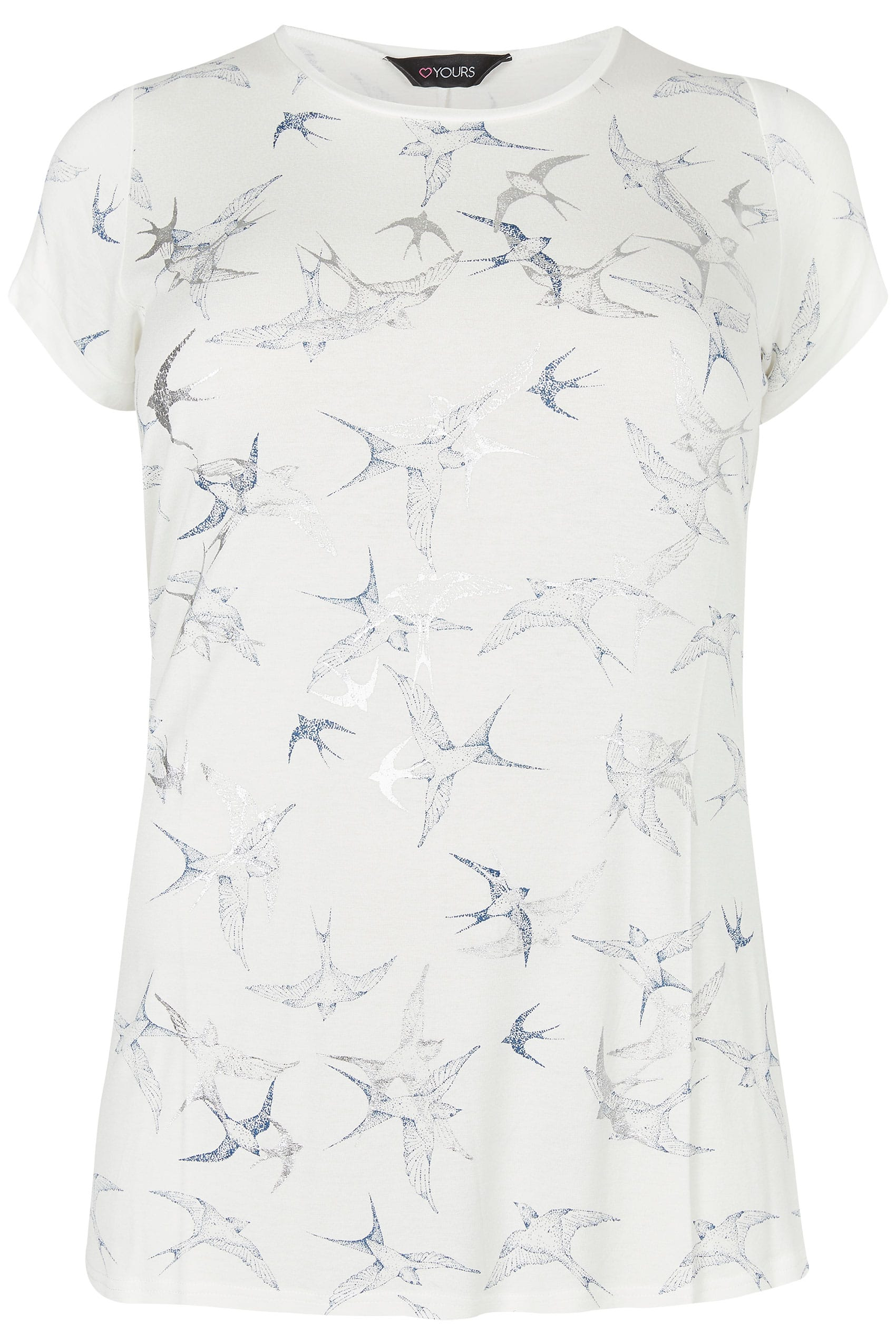 White blue foil swallow print t shirt plus size 16 to 36 for Quick print t shirts