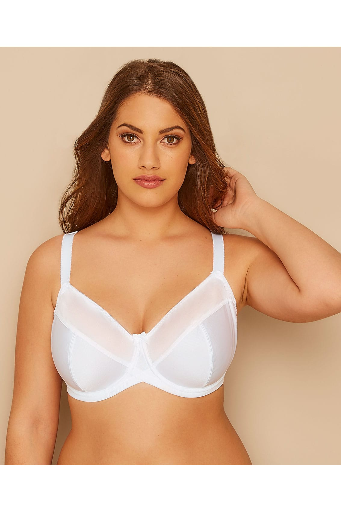 0743078b668b8 Plus Size Underwired Bras White Classic Smooth Non-Padded Underwired Bra