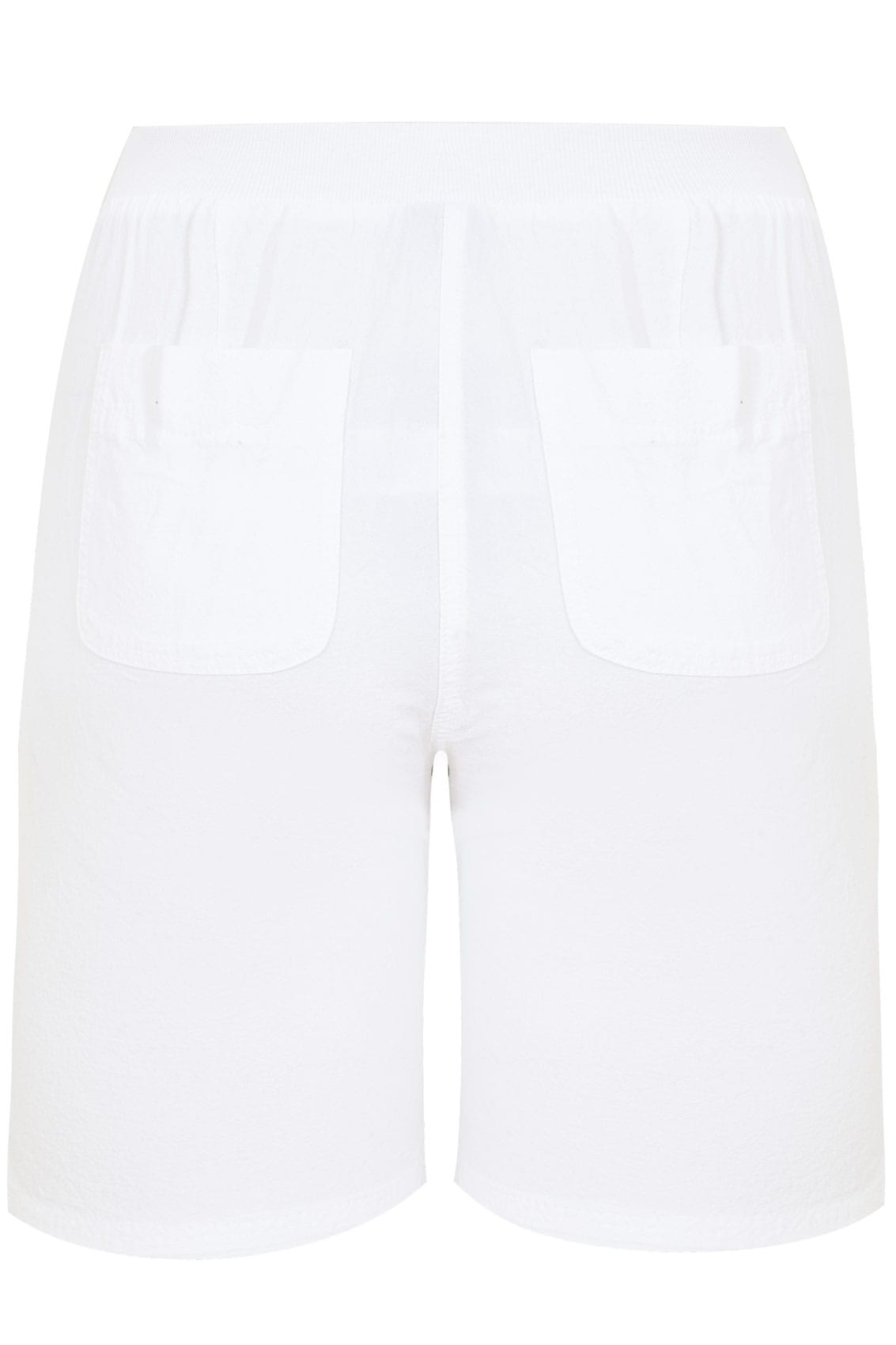 White Cool Cotton Pull On Shorts With Pockets, Plus size ...