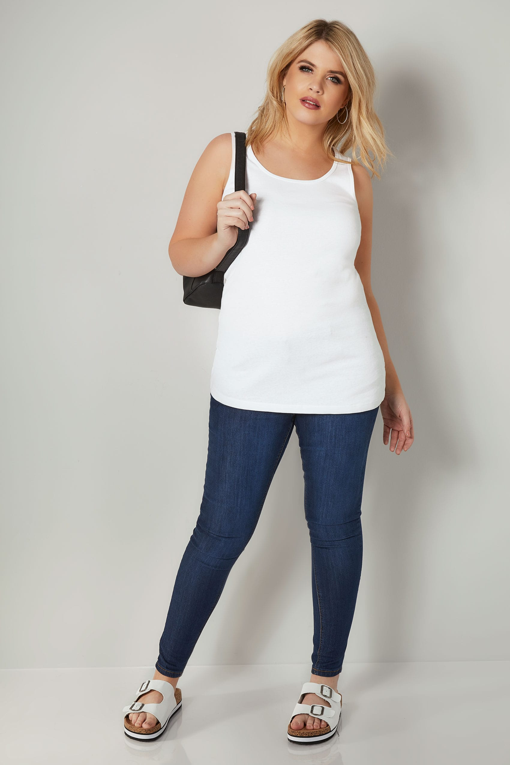 Rooms: White Cotton Vest Top Plus Size 16 To 36