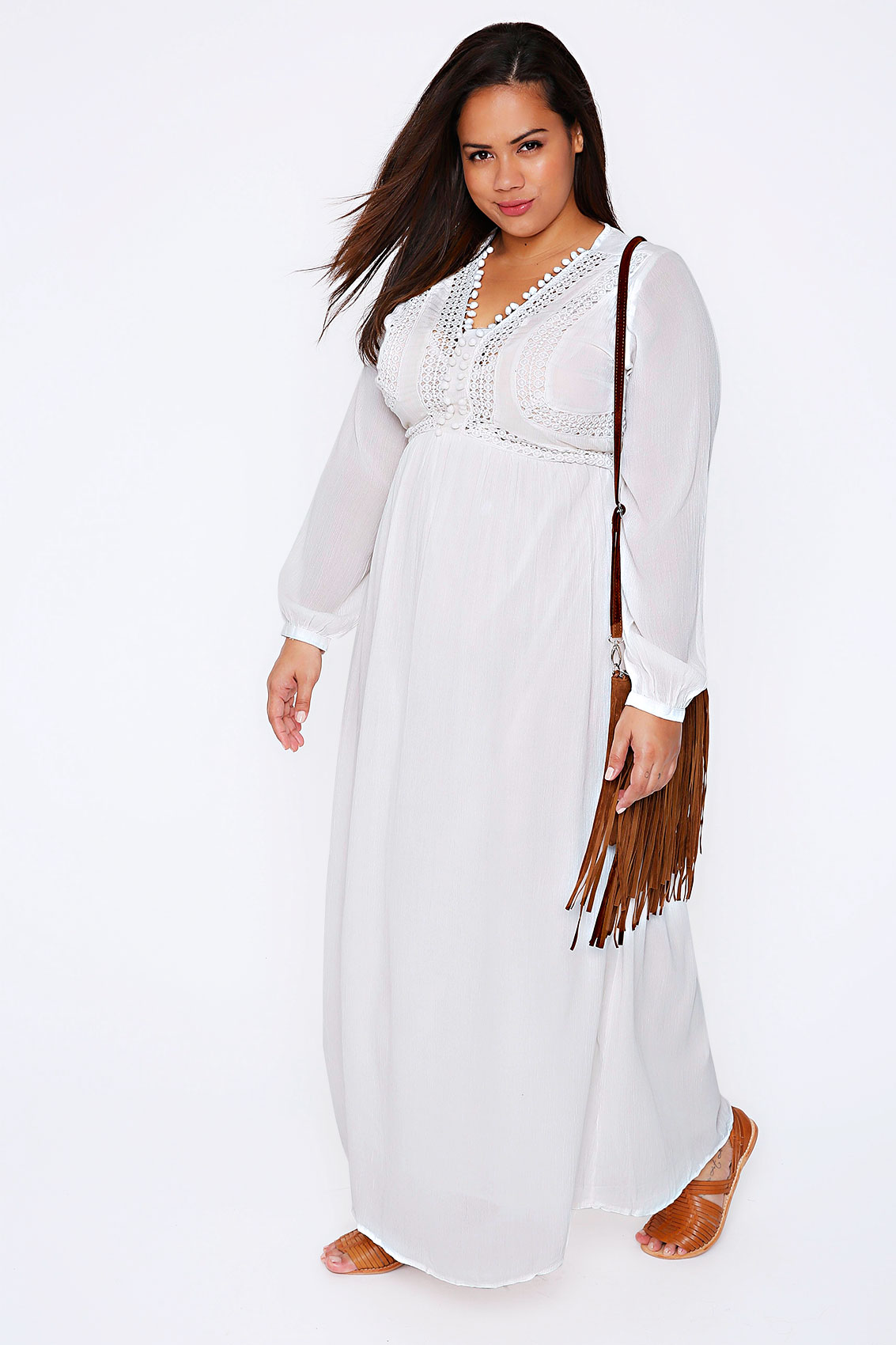 White Crochet Long Sleeve Maxi Dress With Pom Pom Detail Plus Size 16 To 32