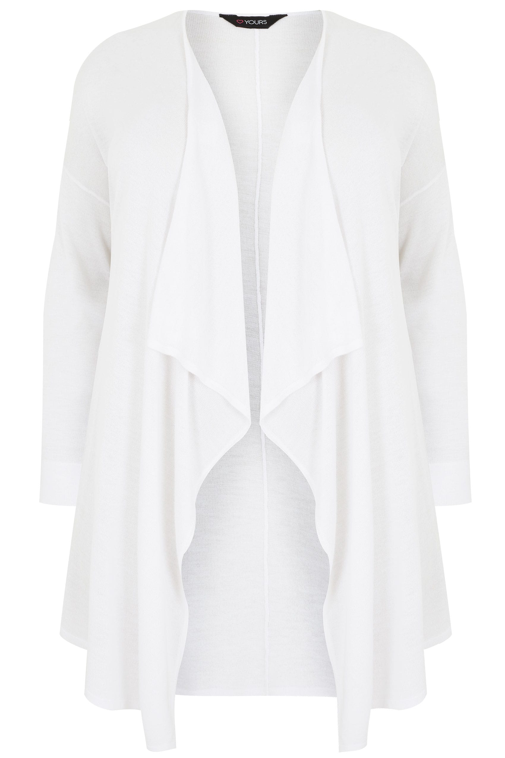 White Fine Knit Waterfall Cardigan, Plus size 16 to 36