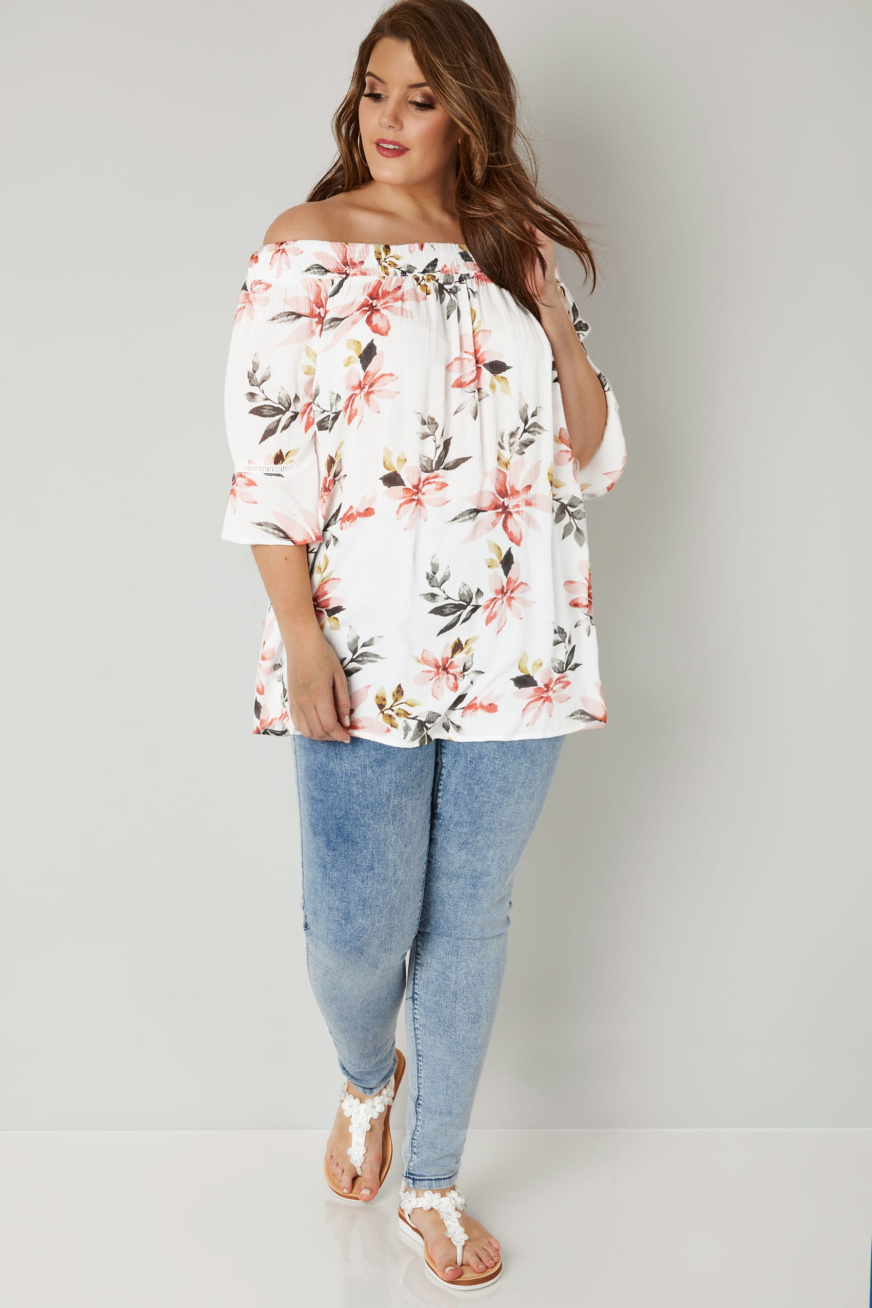 White Floral Print Gypsy Top With Flute Sleeves Plus Size