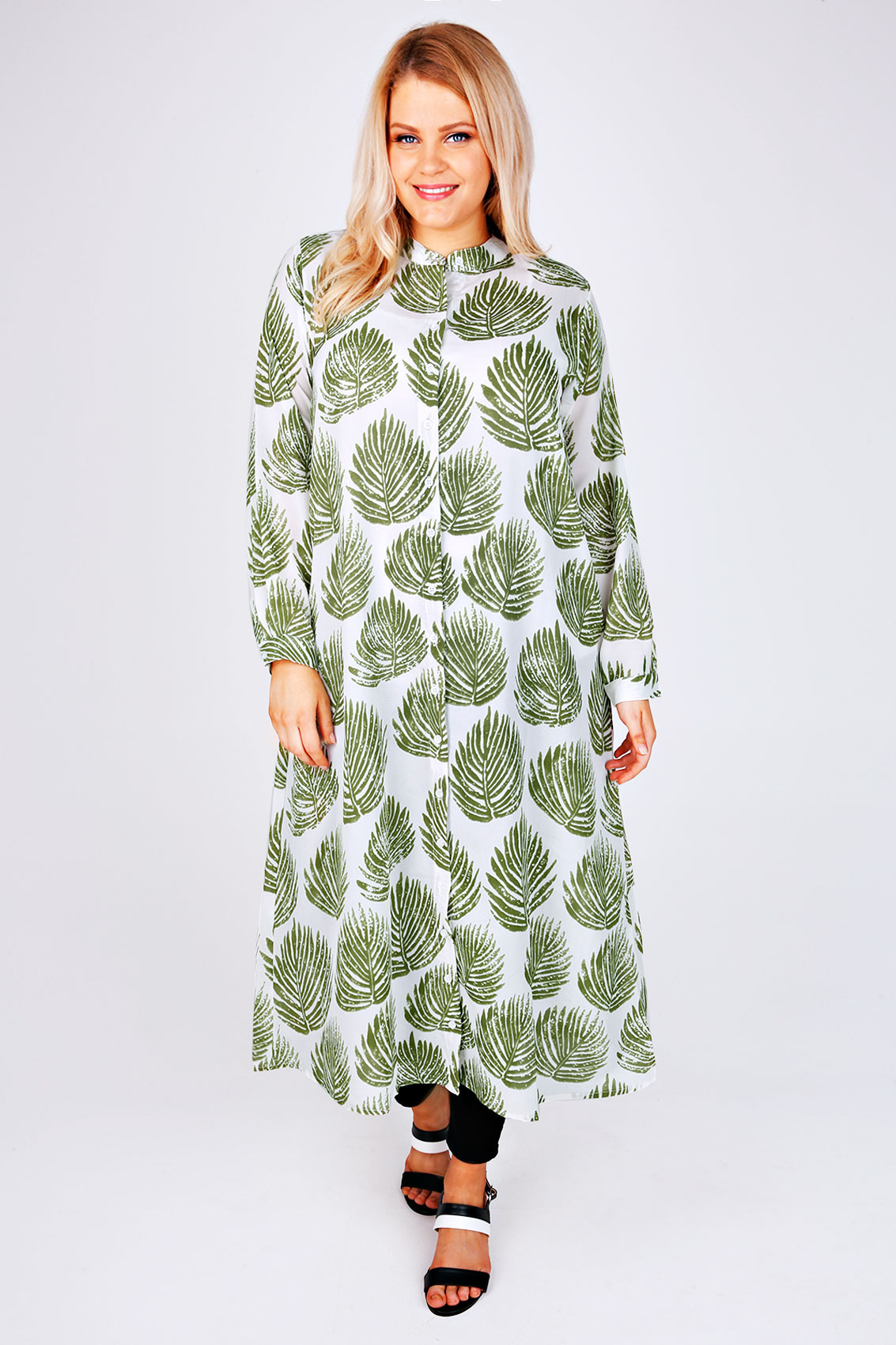 white green leaf print maxi shirt plus size 14 to 32. Black Bedroom Furniture Sets. Home Design Ideas