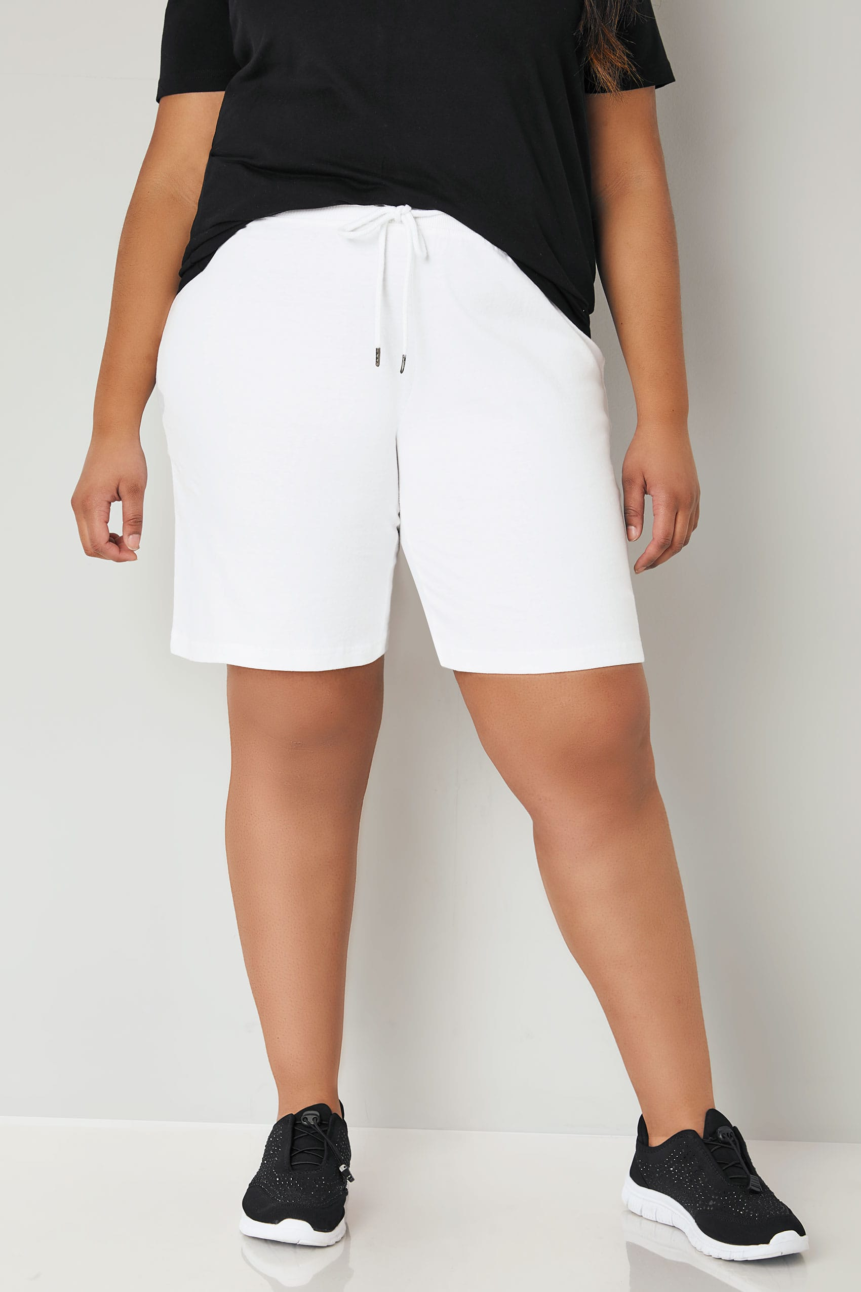 white jersey shorts with elasticated waistband plus size 16 to 36. Black Bedroom Furniture Sets. Home Design Ideas