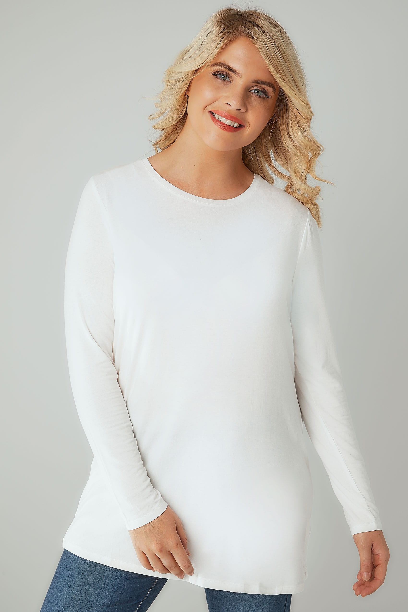 White Long Sleeve Soft Touch Jersey Top, Plus Size 16 To 36-1065
