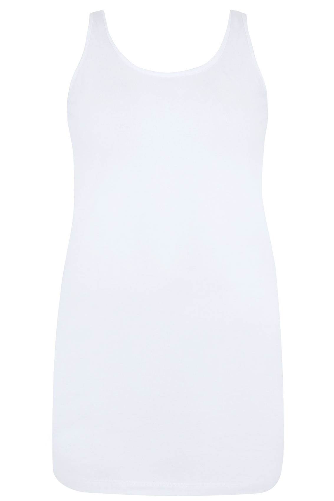 vest top template - white longline vest top plus size 16 to 36