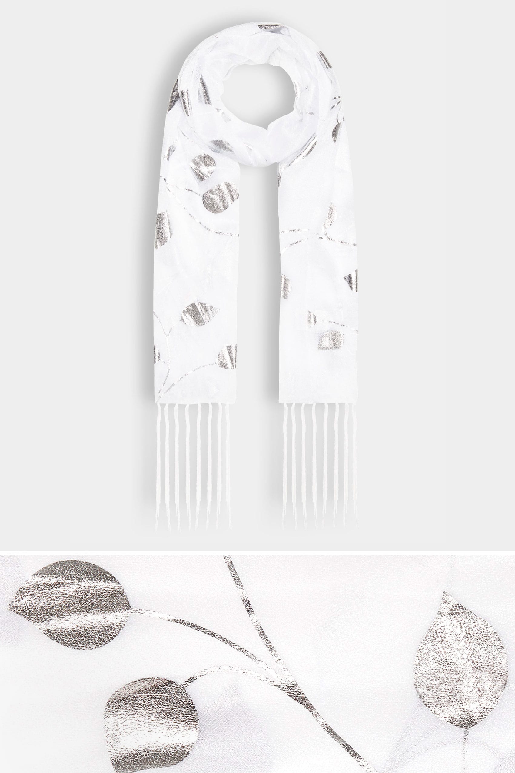 White metallic leaf print scarf with tassels for Buy here pay later