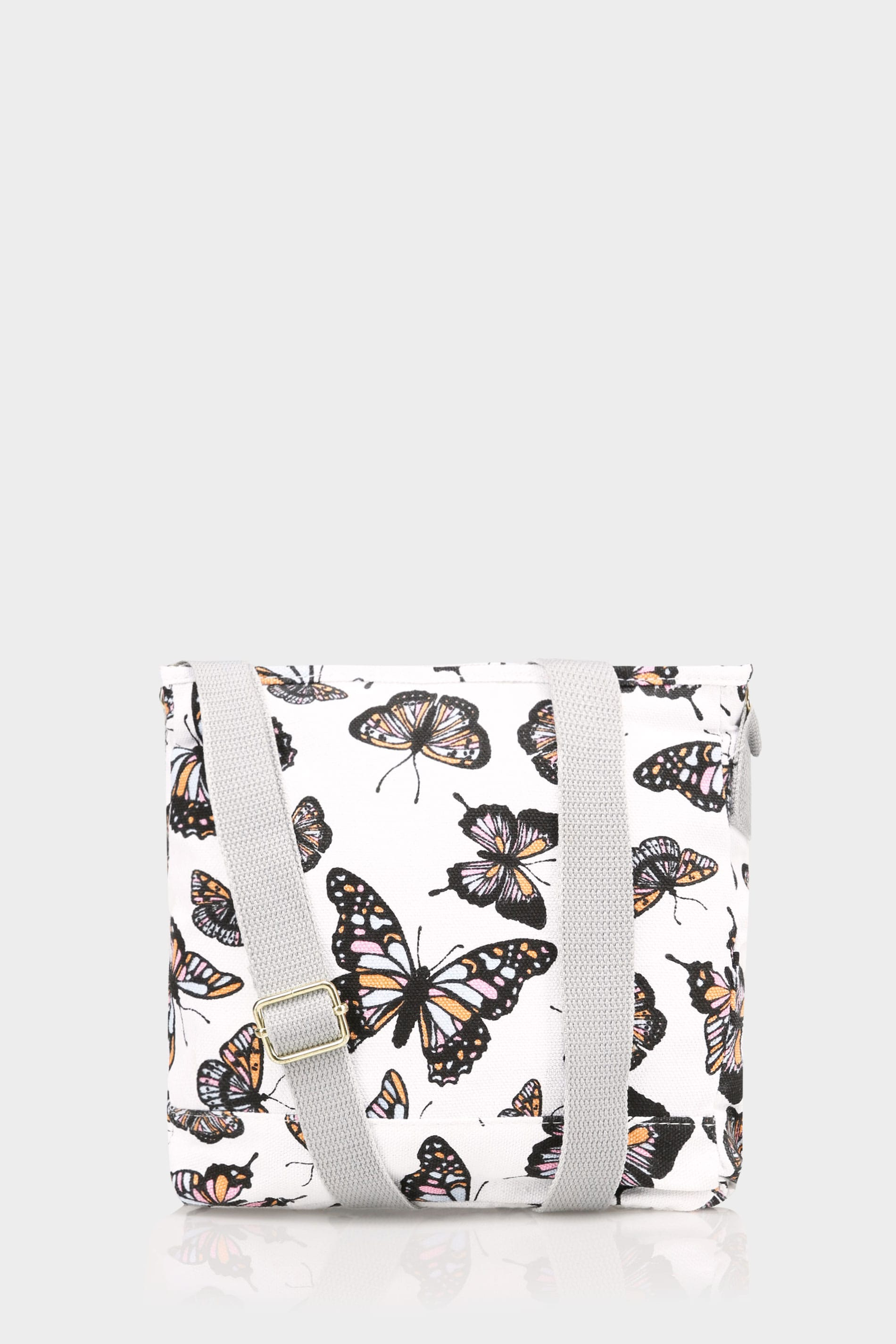 white multi butterfly print canvas cross body bag. Black Bedroom Furniture Sets. Home Design Ideas