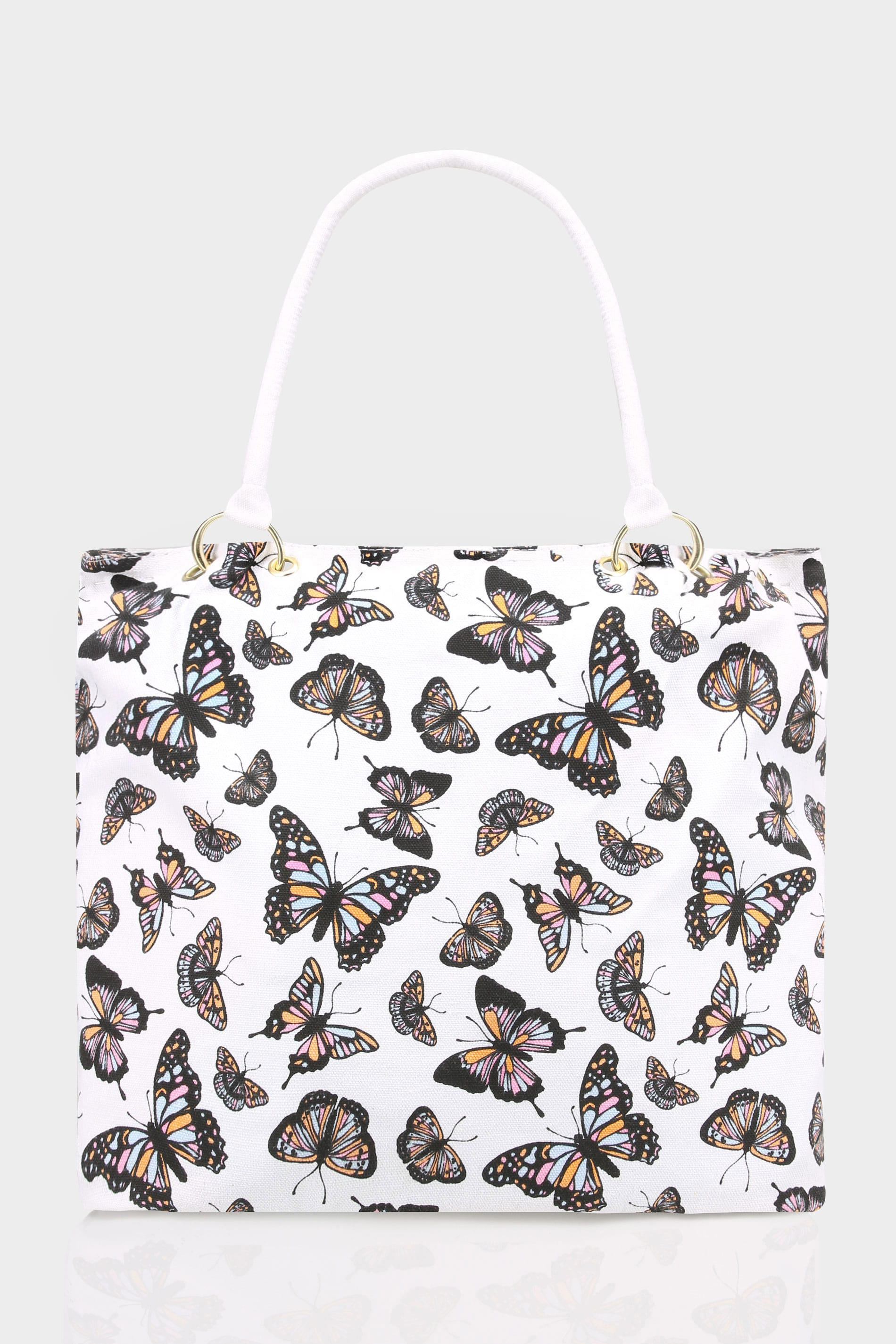 white multi butterfly print canvas shopper bag. Black Bedroom Furniture Sets. Home Design Ideas