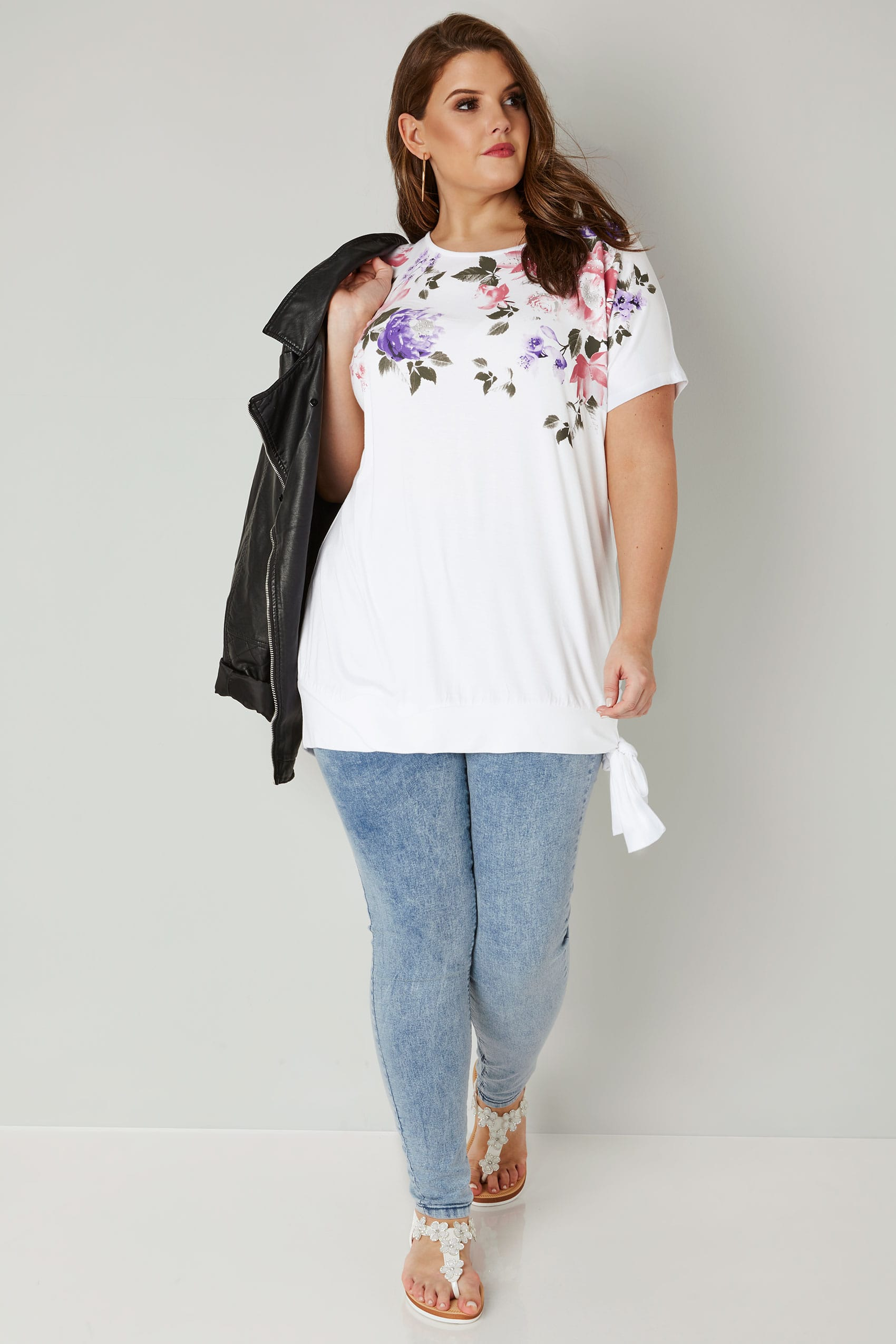 White multi floral print embellished top with tie hem for Sites like touch of modern