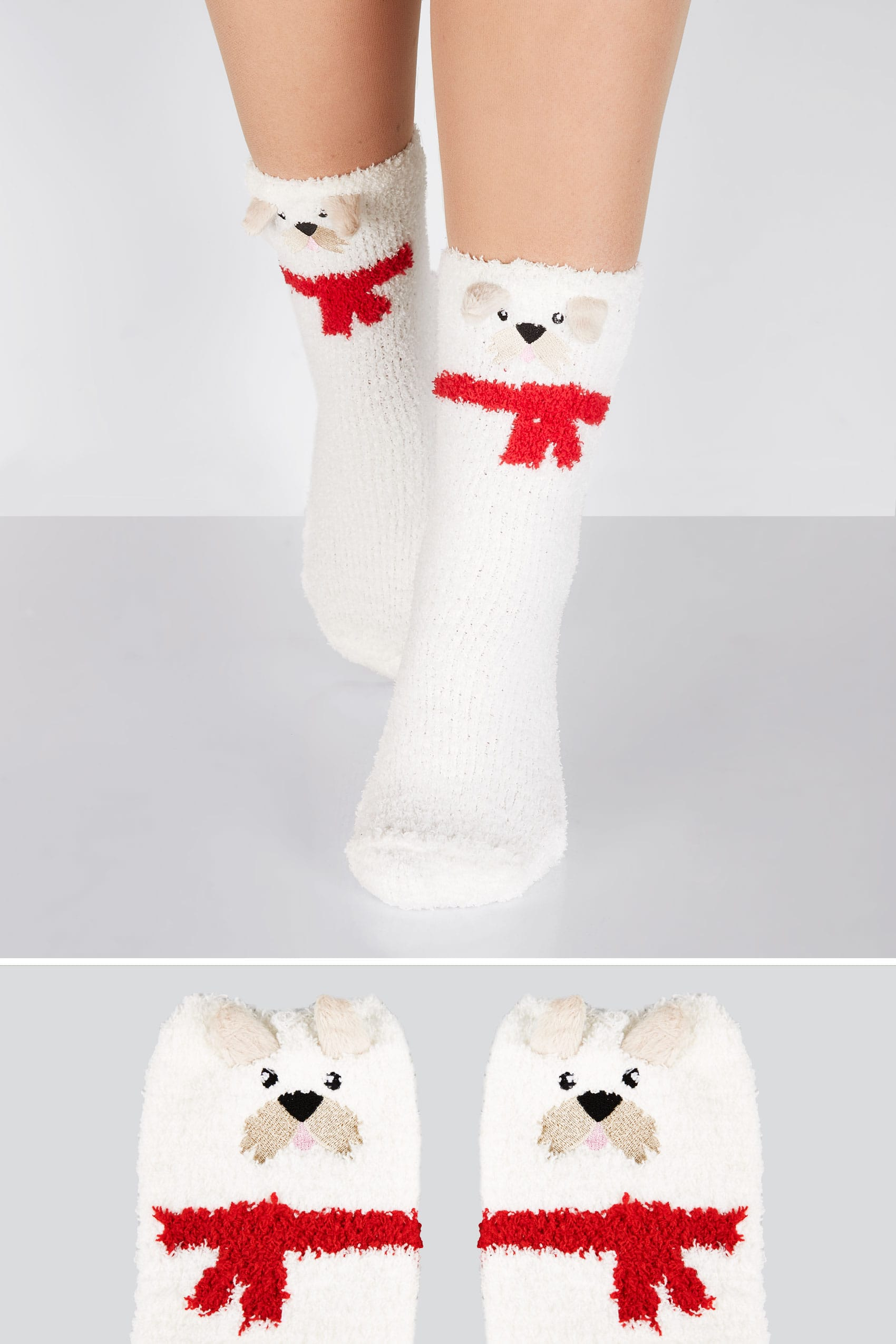 White multi scotty dog cosy socks for Buy here pay later
