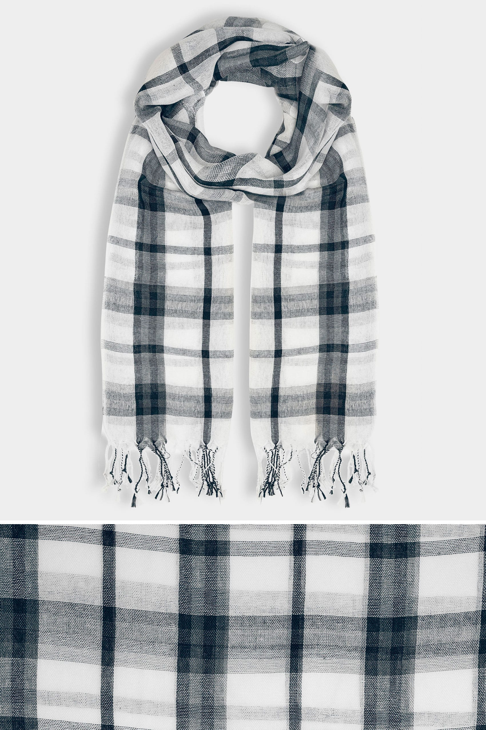 White navy wide check scarf for Buy here pay later