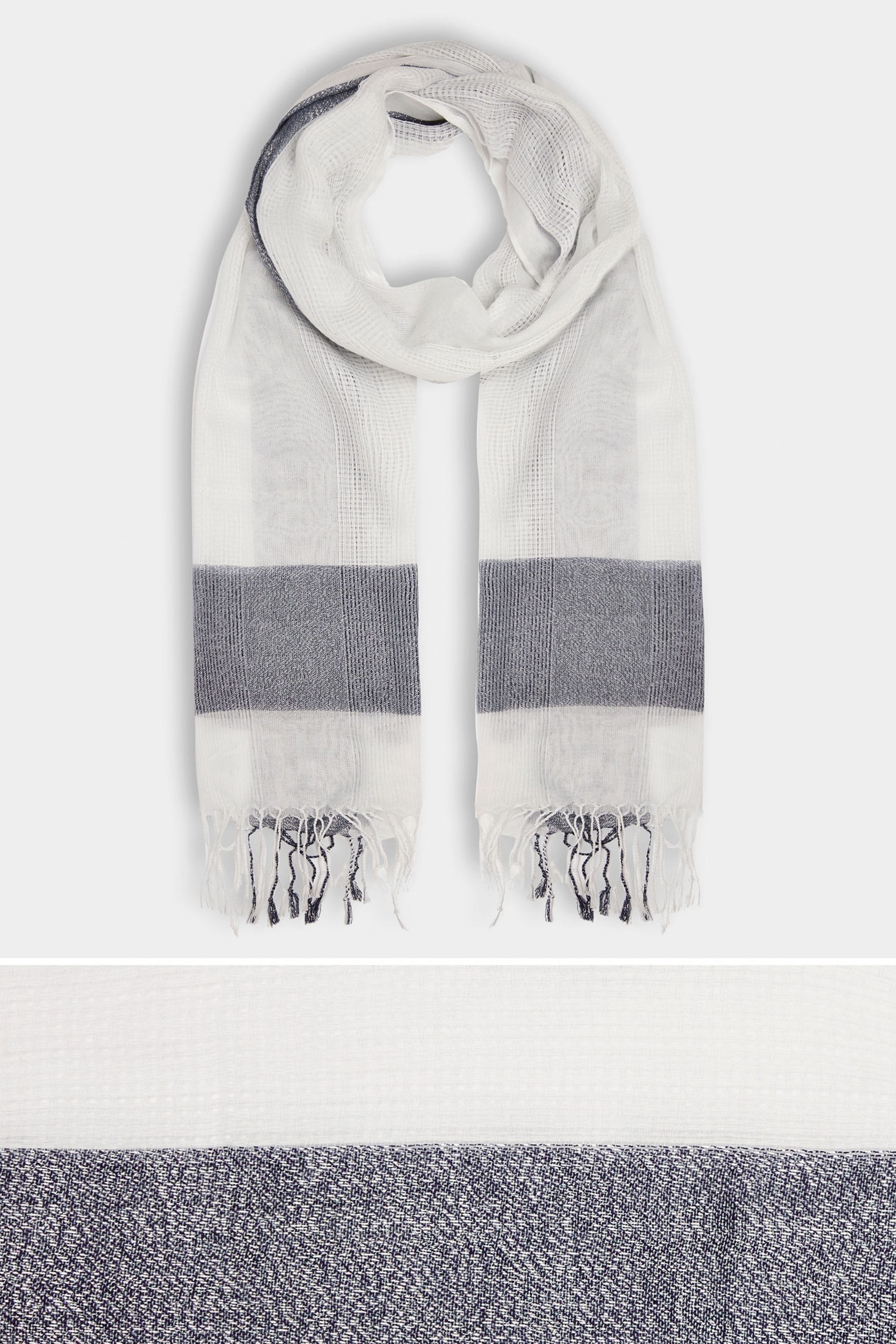 White navy wide check scarf with metallic thread for Buy here pay later