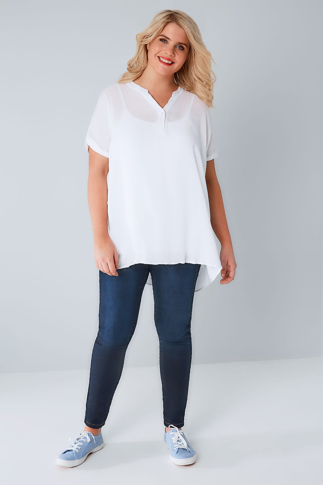 White Oversized Crinkled Shirt With Curved Hem Plus Size