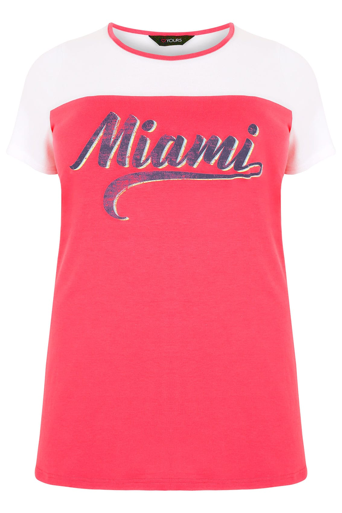 White pink 39 miami 39 print t shirt plus size 16 to 36 for Quick print t shirts