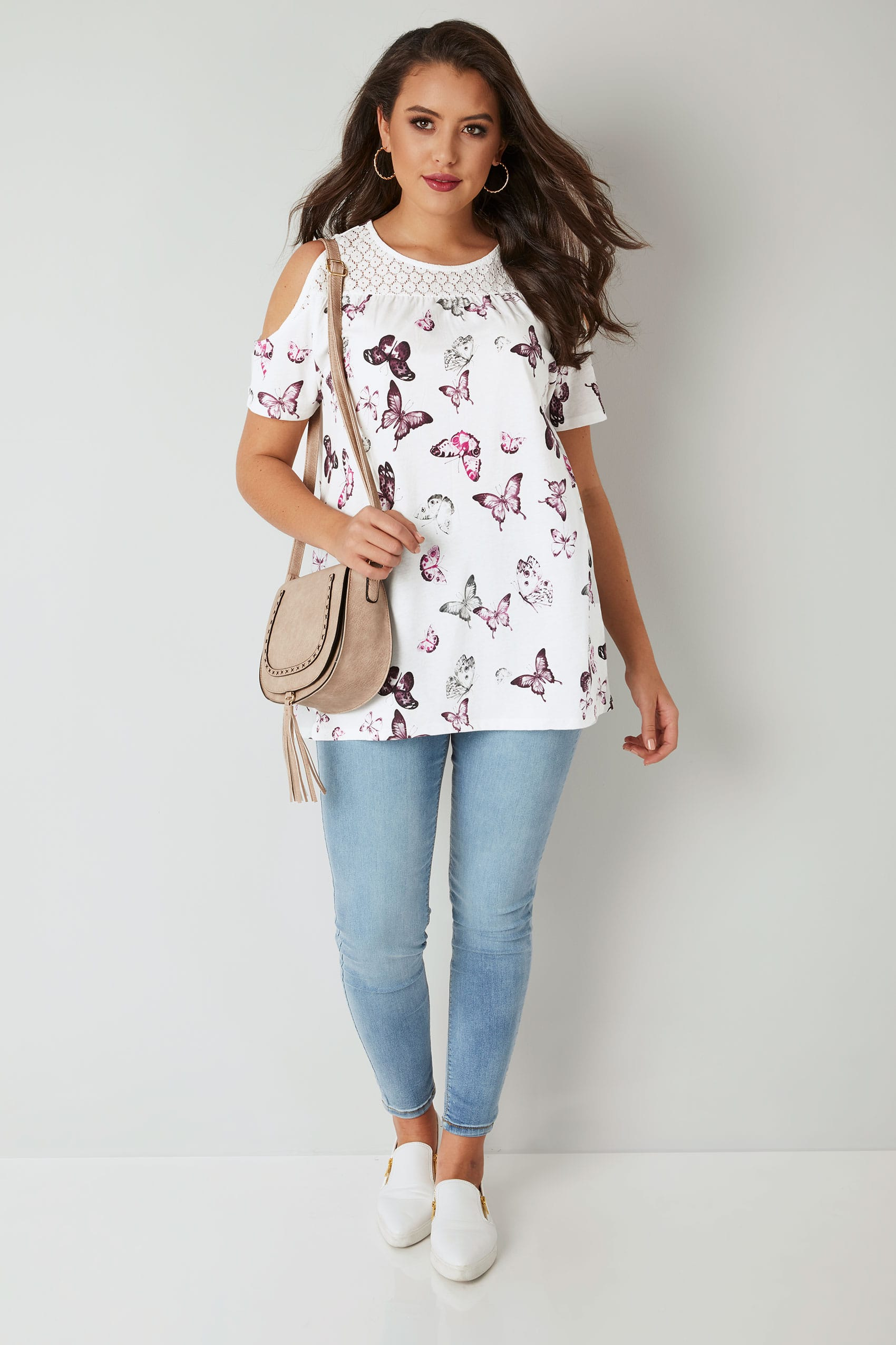 9284104987553 White   Purple Butterfly Print Cold Shoulder Top With Lace Yoke ...