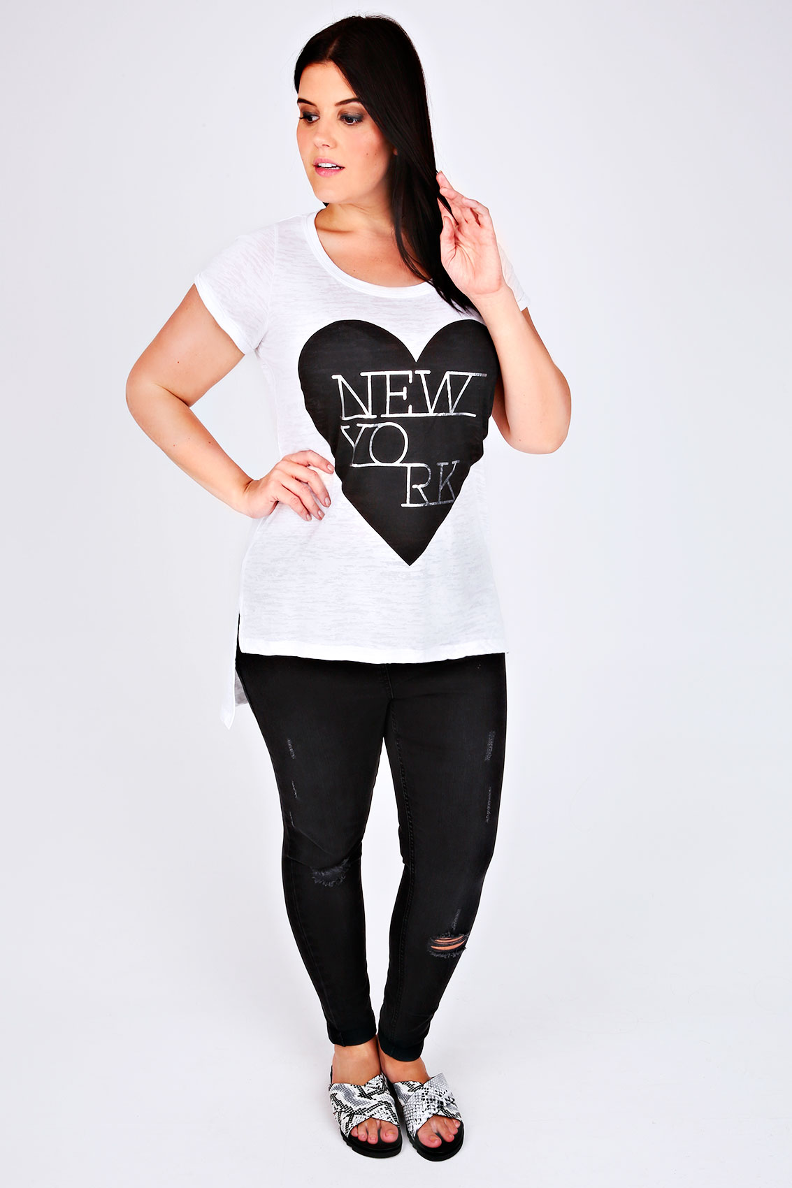 White short sleeve new york print t shirt plus size for New york printed t shirts