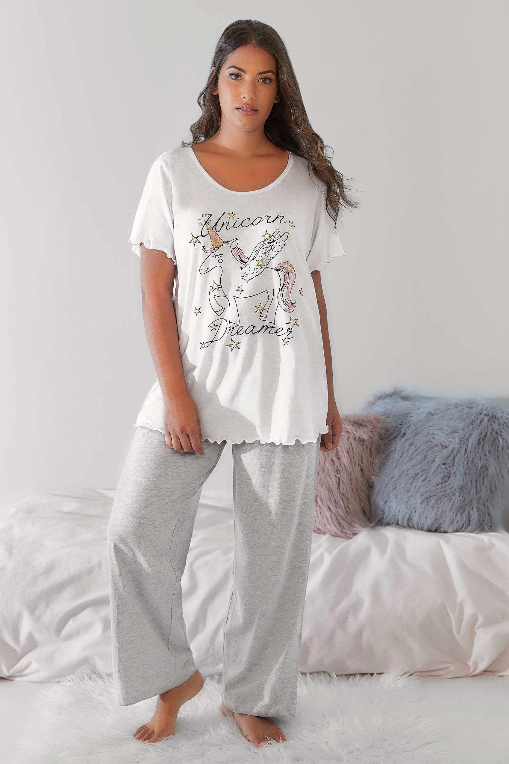 white  u0026 39 unicorn dreamer u0026 39  glittery pyjama top  plus size 16