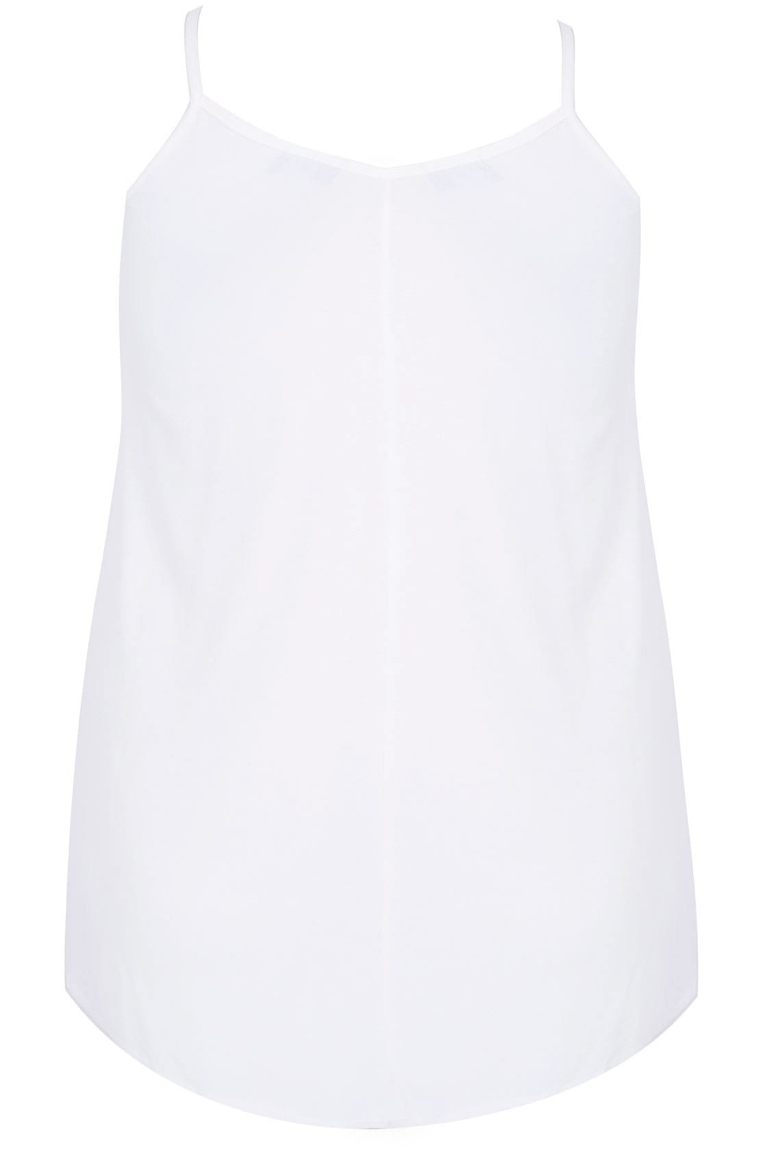 4bf784dc14 White V-Neck Longline Cami Vest Top With Cross Front Detail, Plus ...