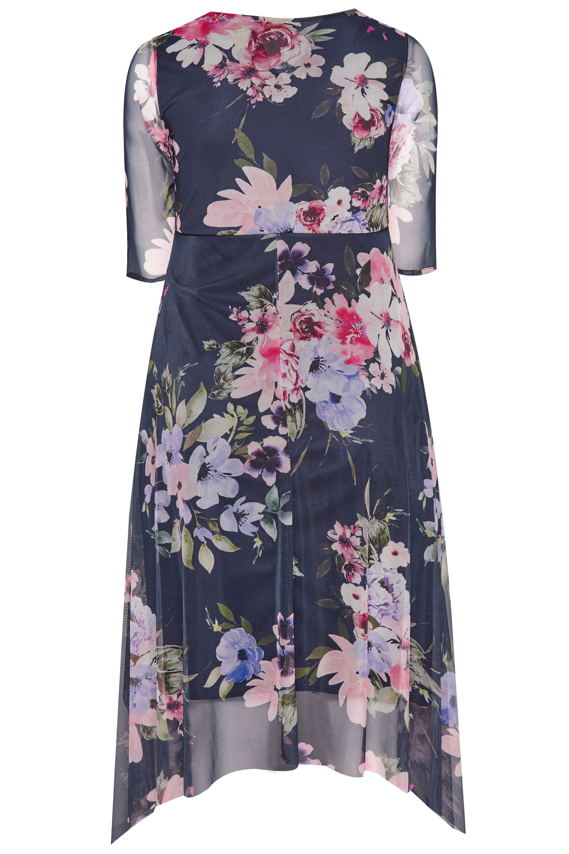 635759a4e35 YOURS LONDON Black Floral Mesh Midi Dress With Hanky Hem | Sizes 16 ...