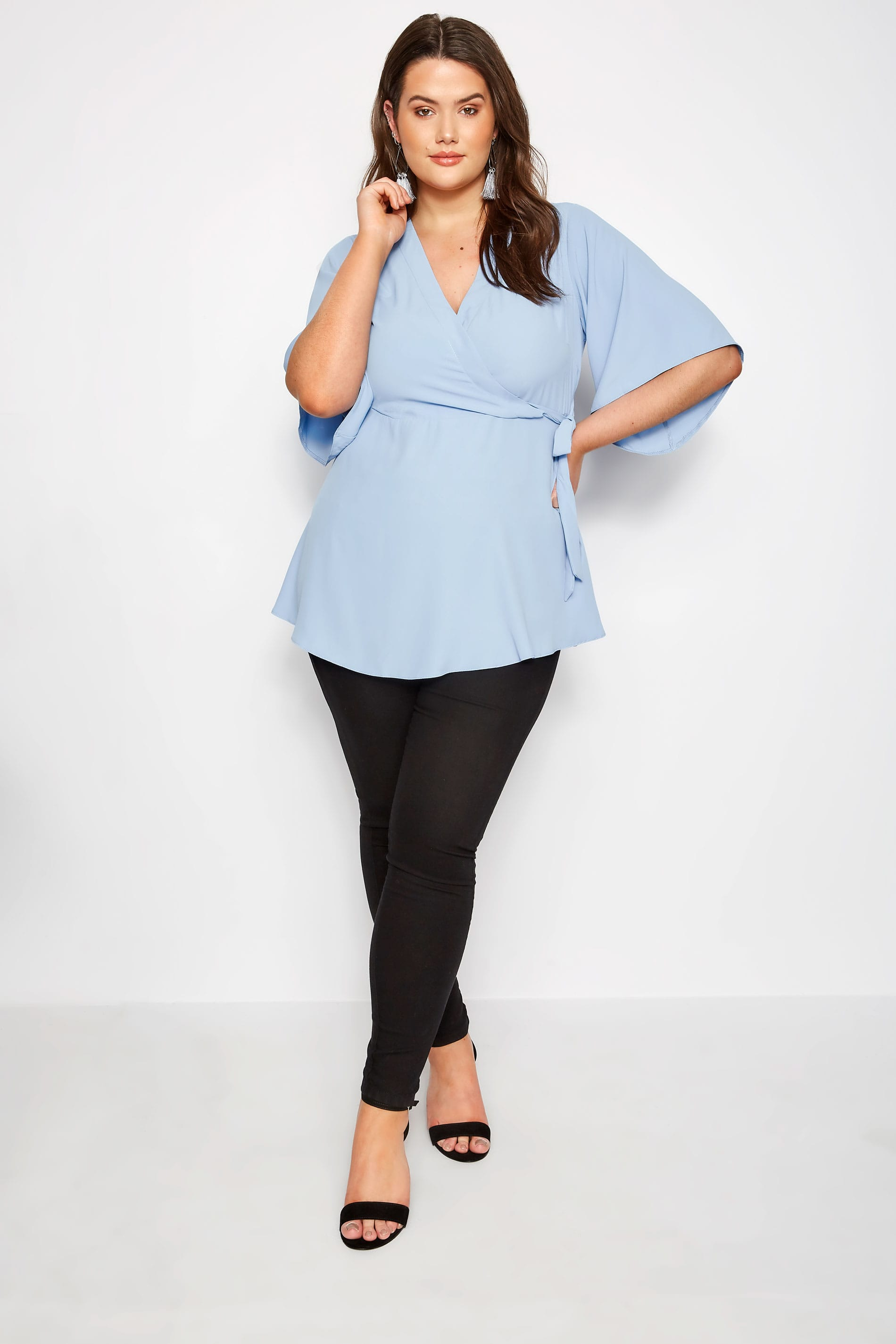 Yours London Plus Size Baby Blue Wrap Blouse With Kimono