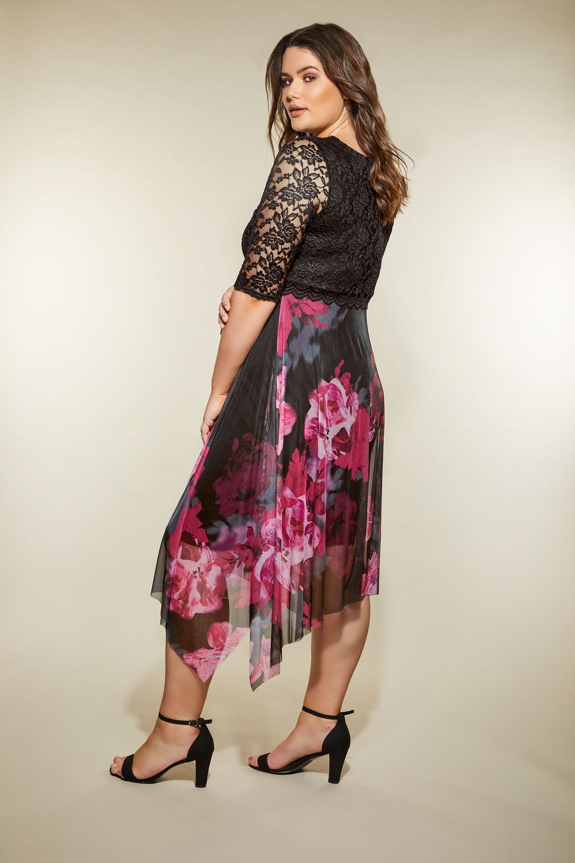 Yours London Black  Berry Floral Dress With Lace Overlay -4967
