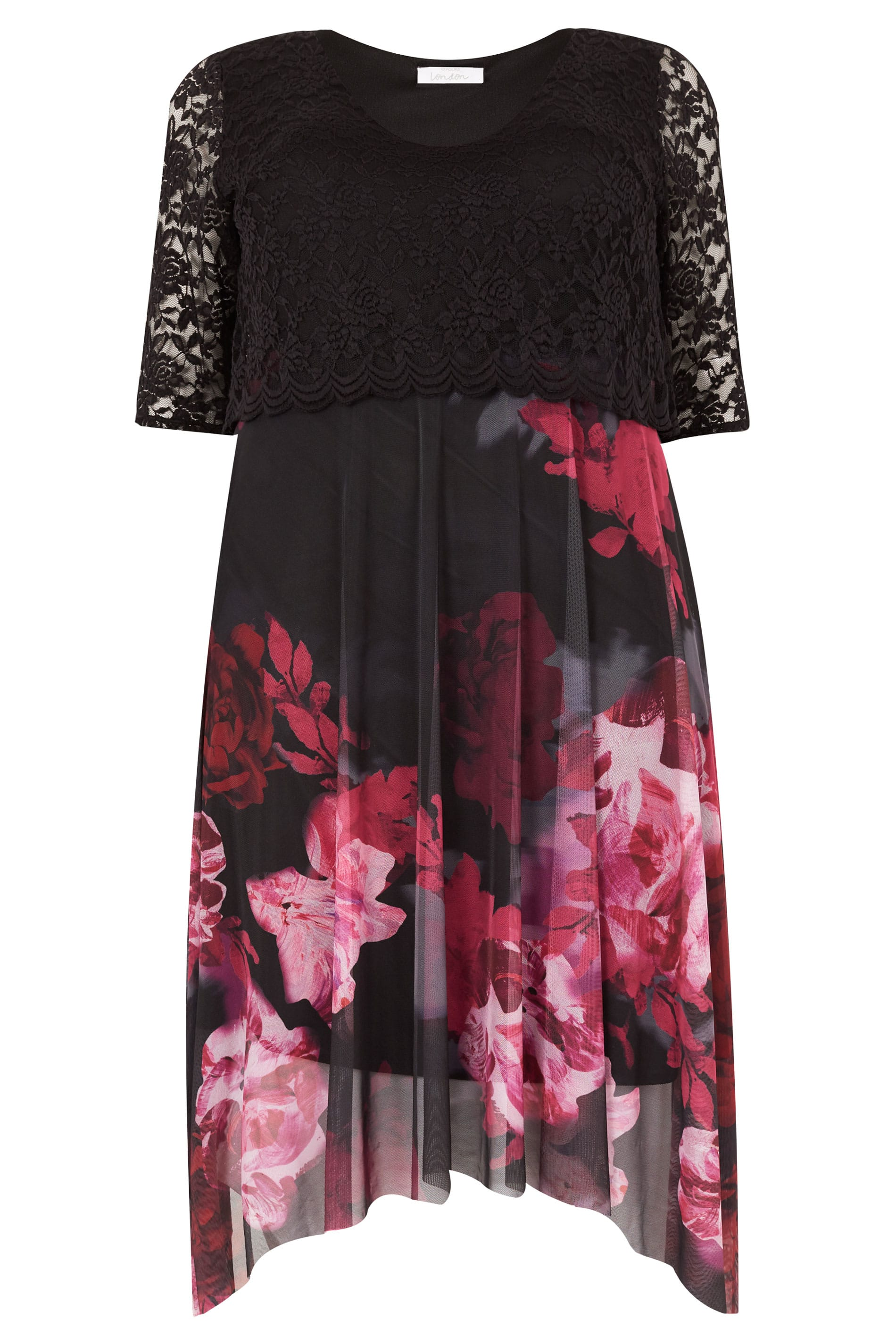daec2db5eda YOURS LONDON Black   Berry Floral Dress With Lace Overlay