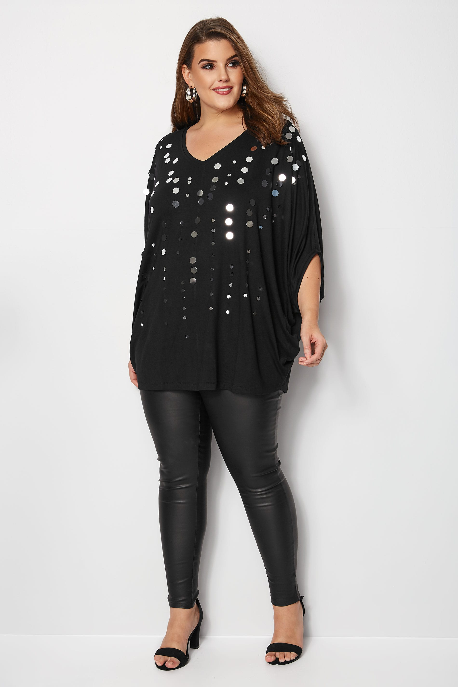 Rooms: Black Oversized Jersey Cape Top With Disc Sequin Details