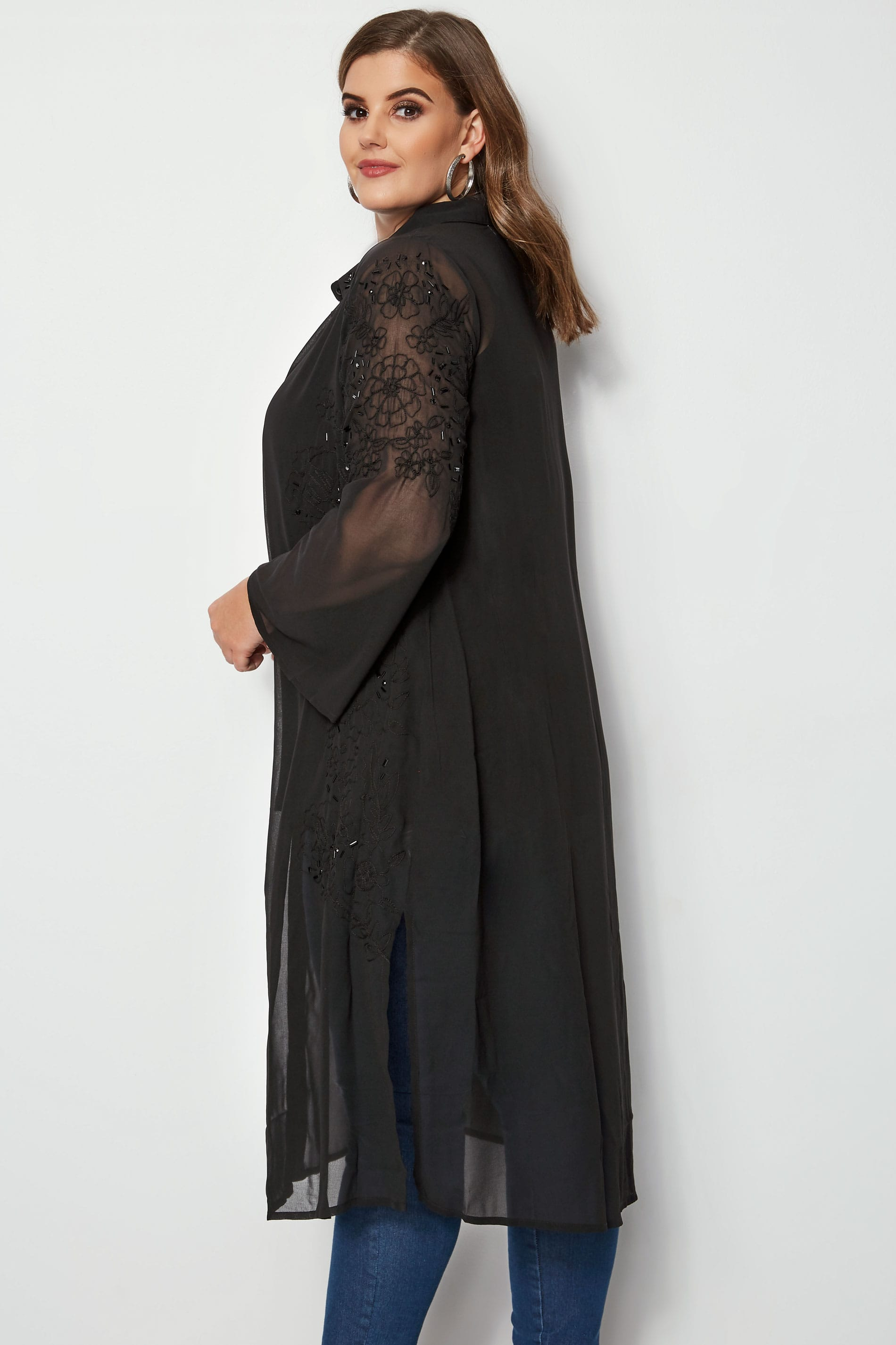 c738585222 YOURS LONDON Black Embellished   Embroidered Maxi Shirt