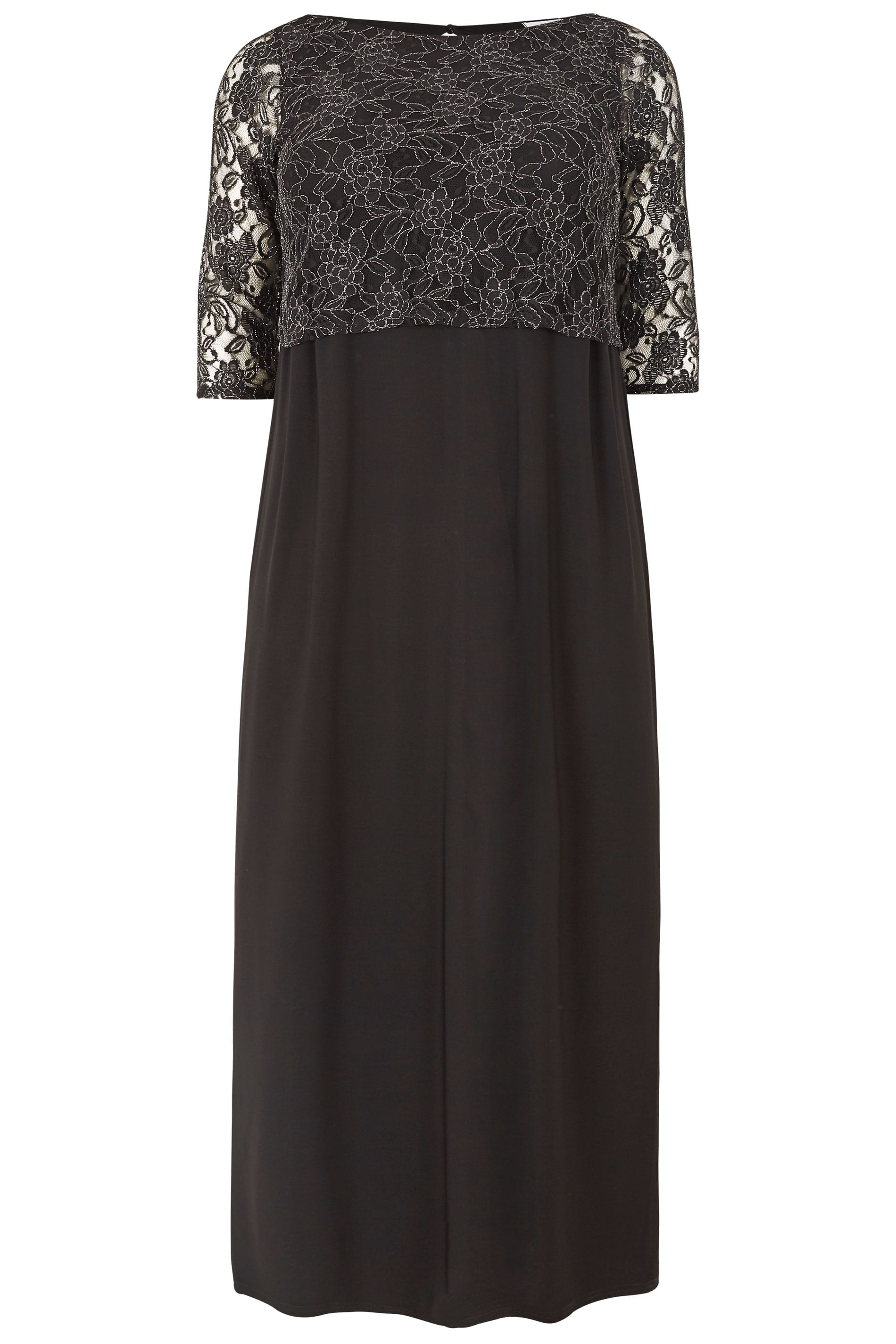 Yours London Black Metallic Lace Maxi Dress Plus Size 16