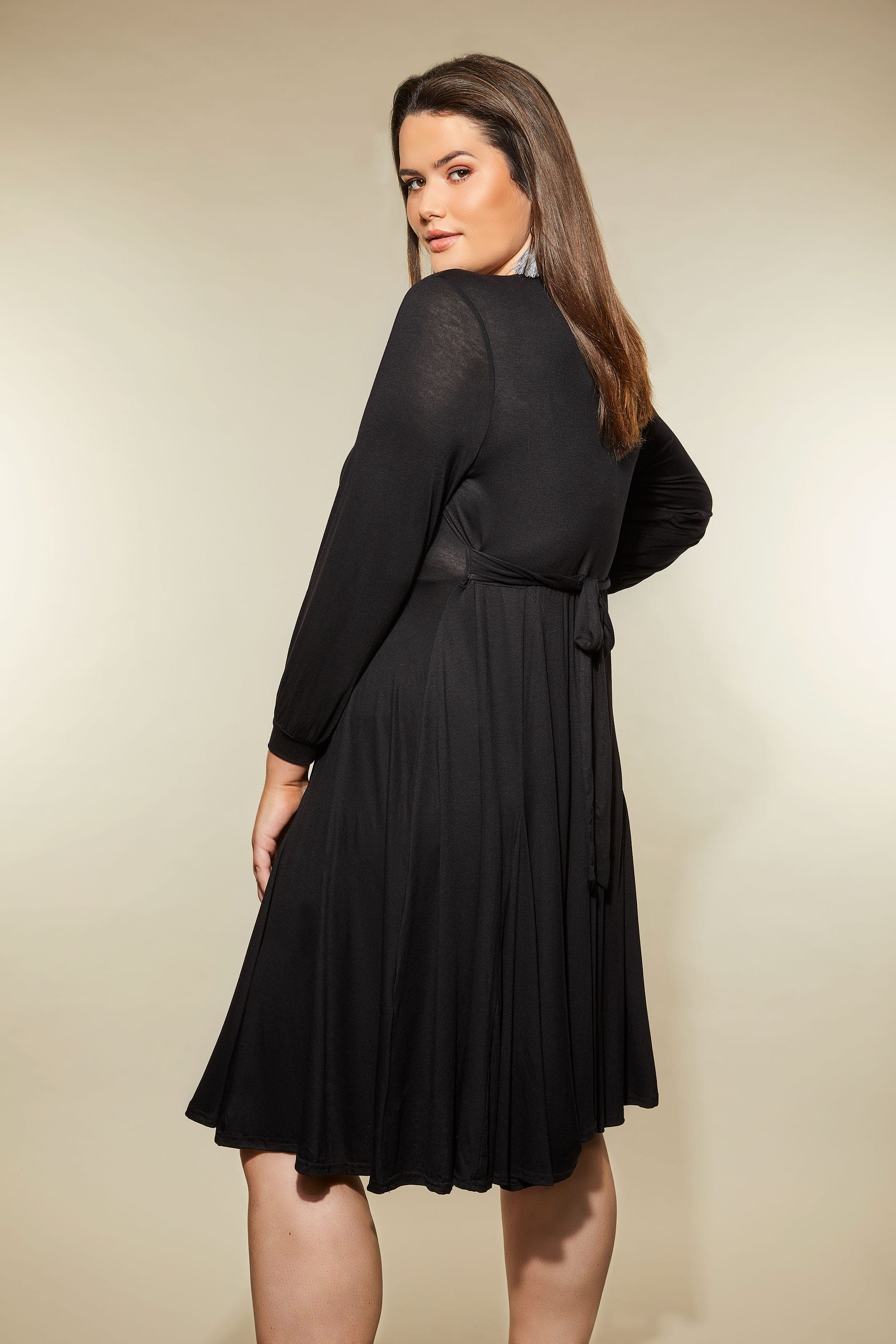 Rooms: YOURS LONDON Black Godet Wrap Dress, Plus Size 16 To 32