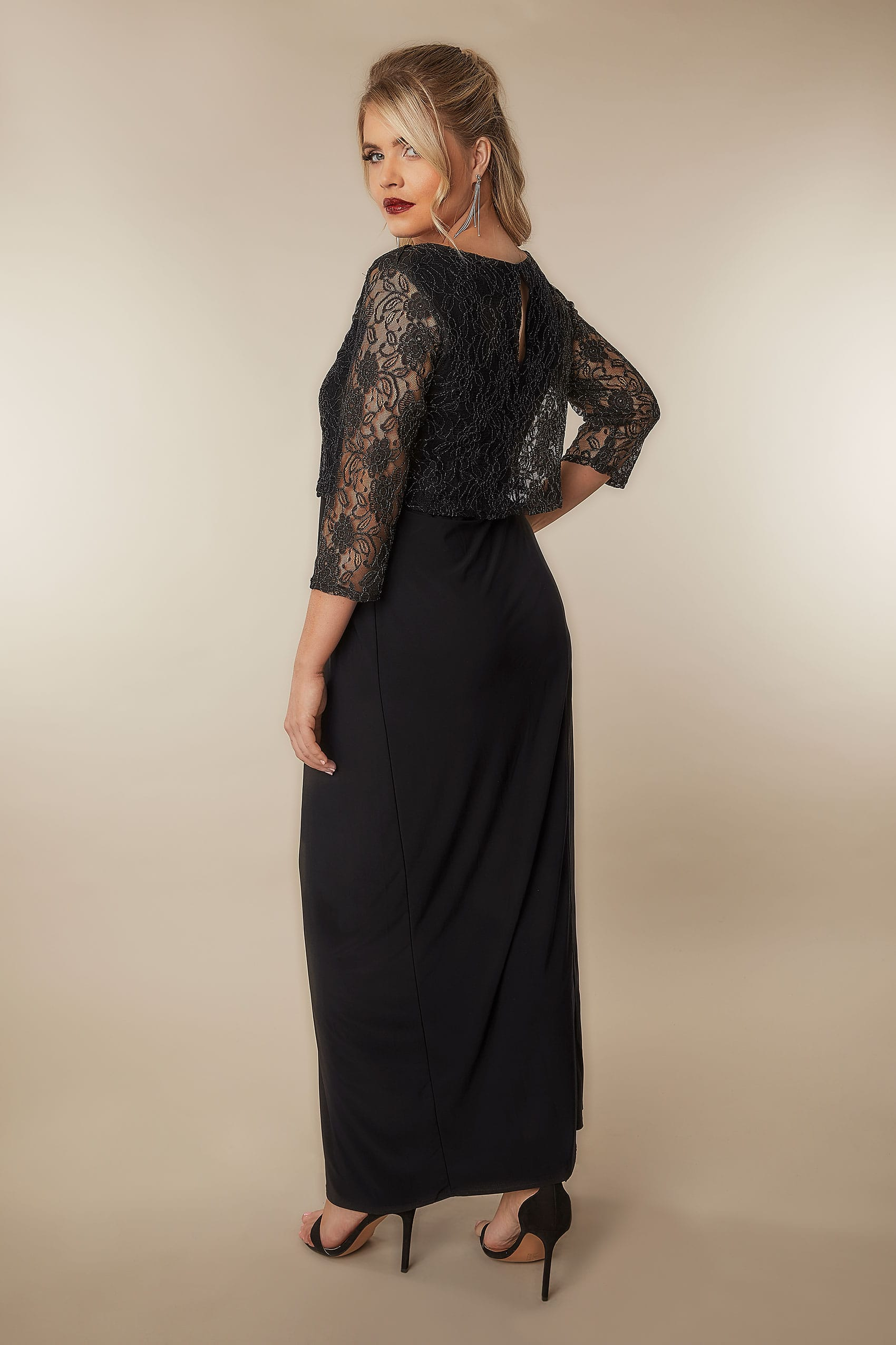 Black gold maxi lace overlay dress with long sleeves plus size 16 to 32 - Div background image ...