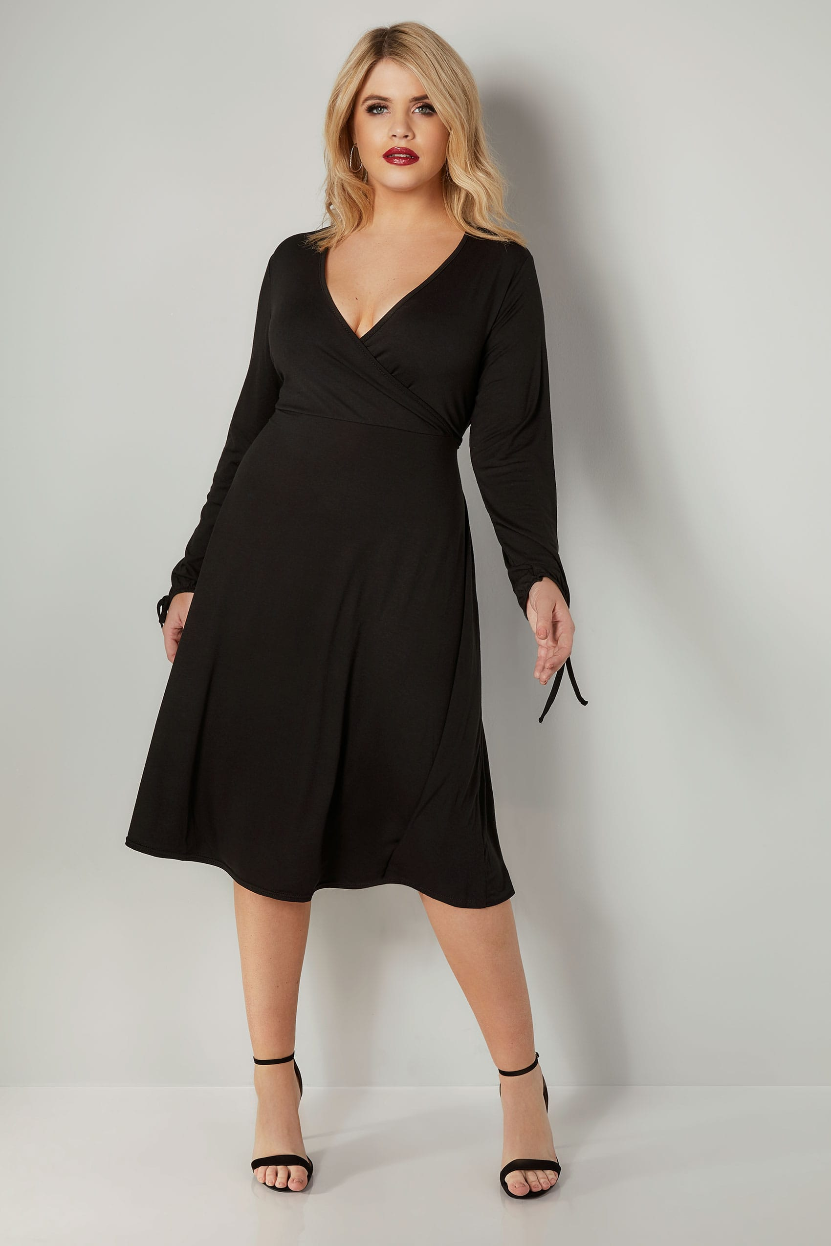 143 305 70httpswww Bing Commapsq Go To Www Bing Com Form Hdrsc4: YOURS LONDON Black Jersey Wrap Dress With Tie Sleeves