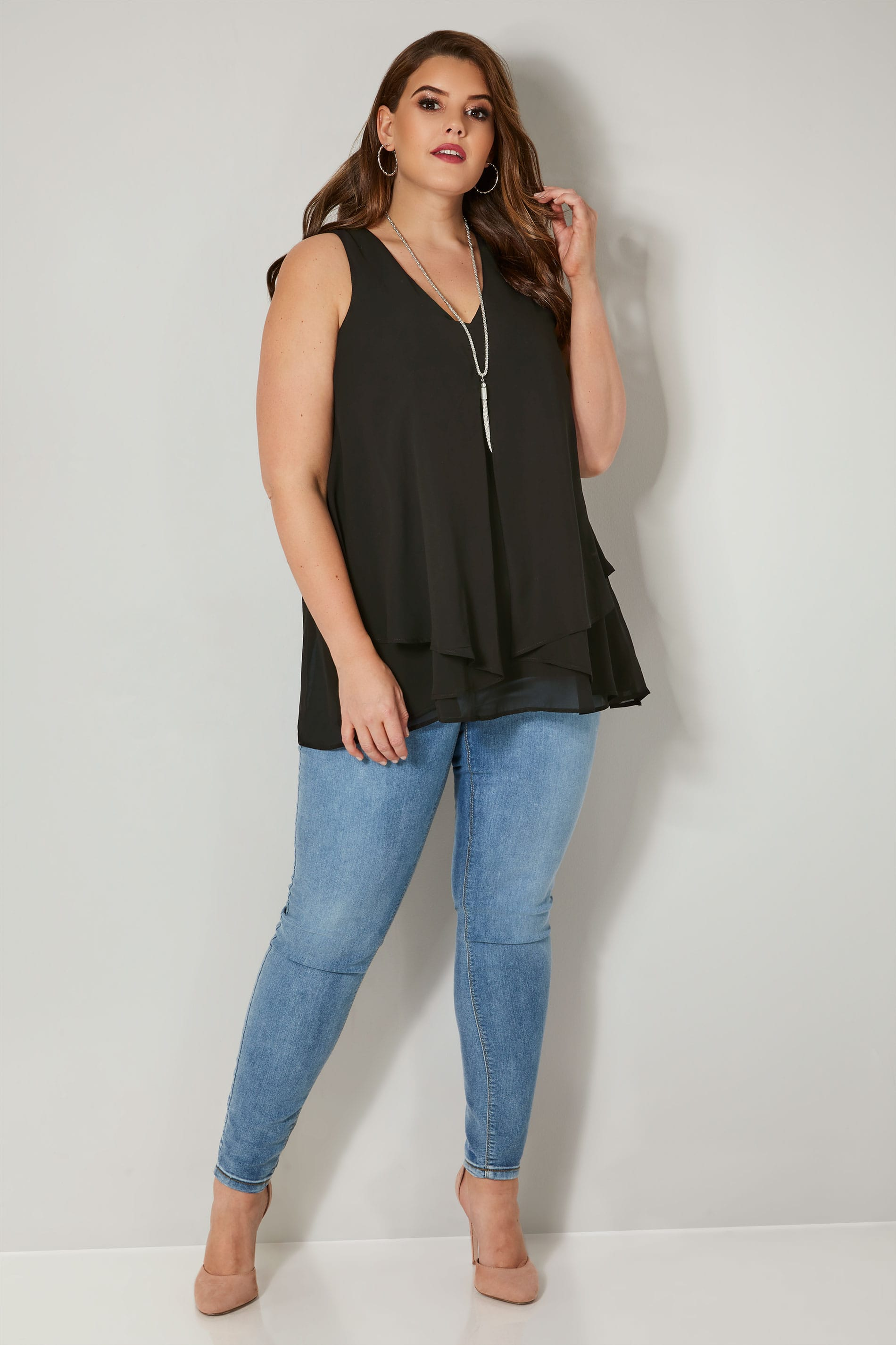 Yours London Black Layered Chiffon Top, Plus Size 16 To 32-1216