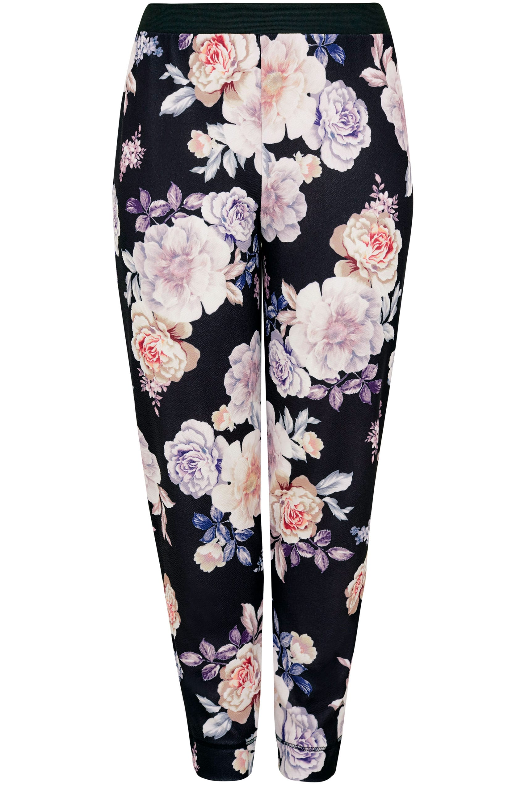 Yours london black multi floral print harem trousers for Buy here pay later