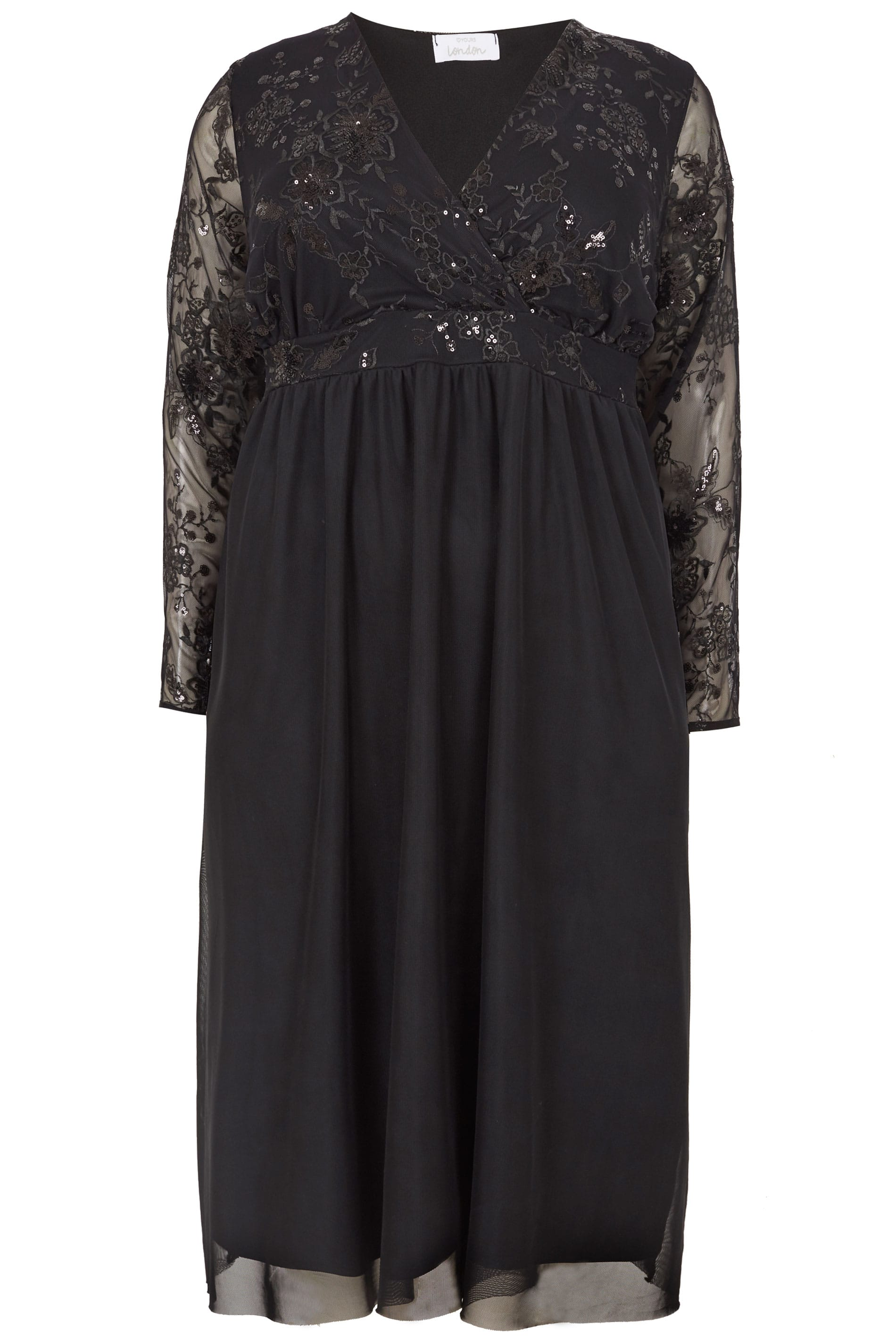 bd65029801c YOURS LONDON Black Sequin Embellished Lace Dress, Plus size 16 to 32
