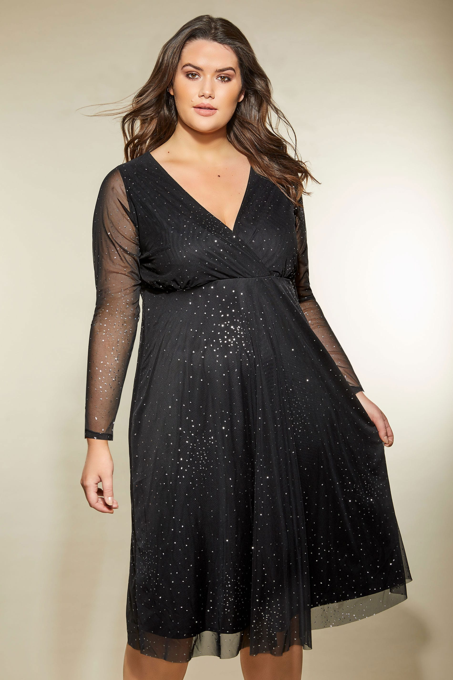 24 Hr Stores Near Me >> YOURS LONDON Black Star Burst Glittery Mesh Dress, plus size 16 to 32