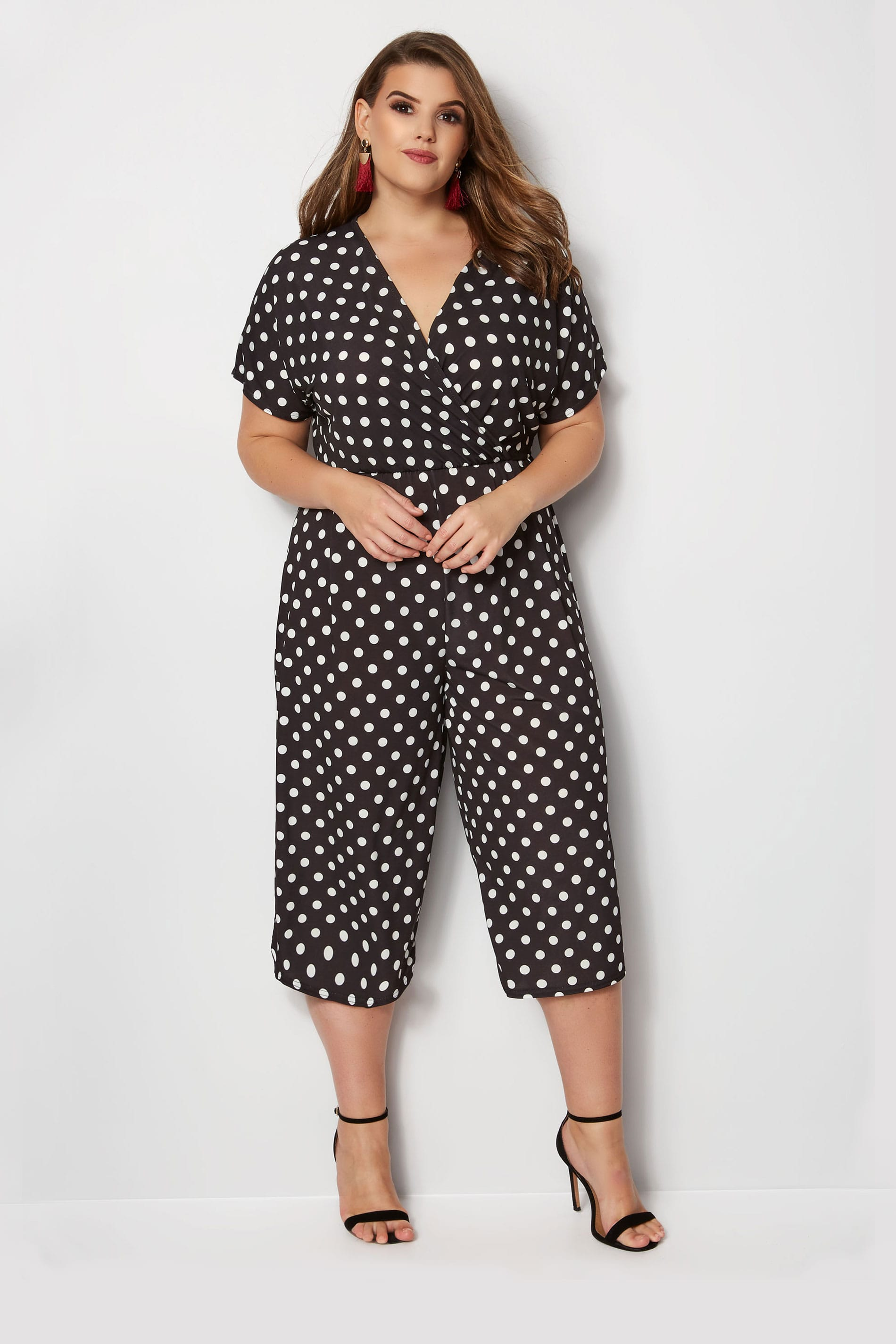 Yours London Black White Polka Dot Jumpsuit Plus Size 16 To 36