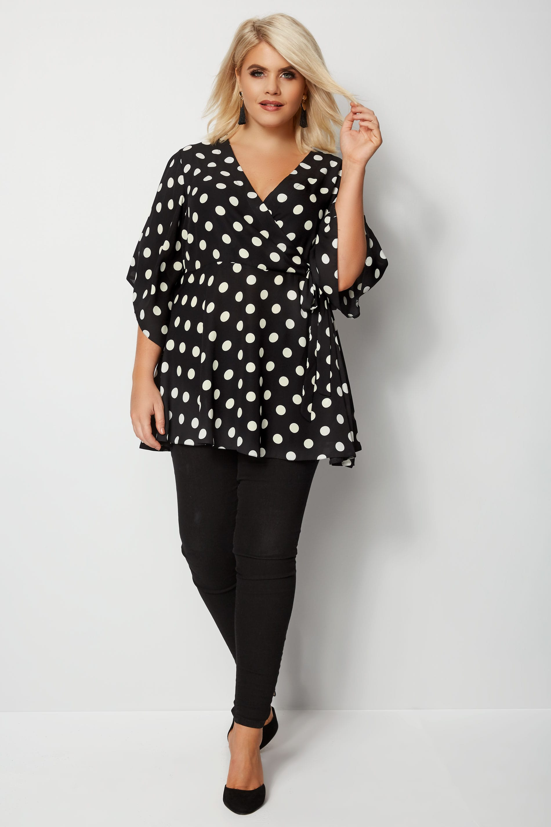 yours london black white polka dot wrap top plus size. Black Bedroom Furniture Sets. Home Design Ideas