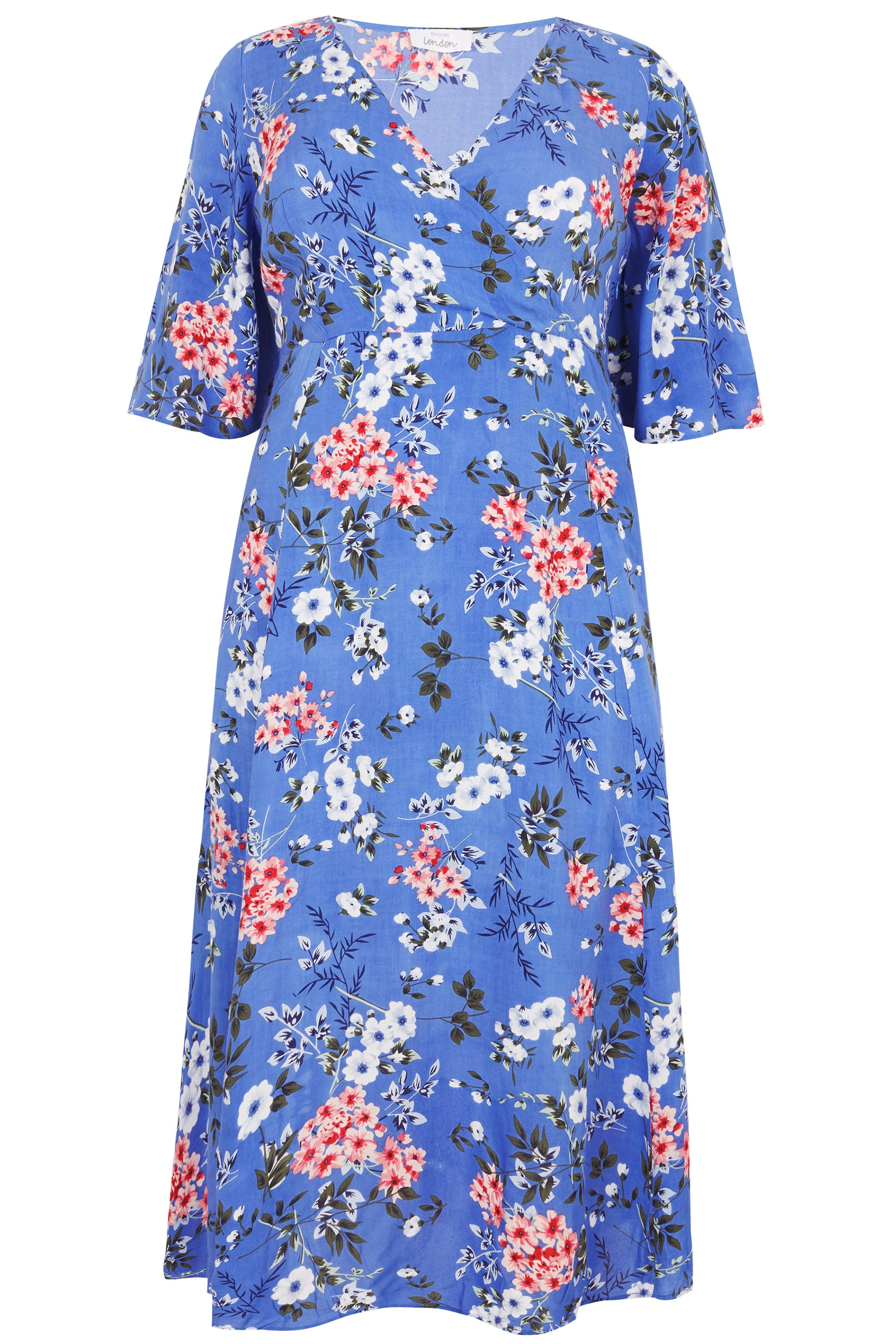 c519d3bef13 YOURS LONDON Blue Floral Wrap Maxi Dress