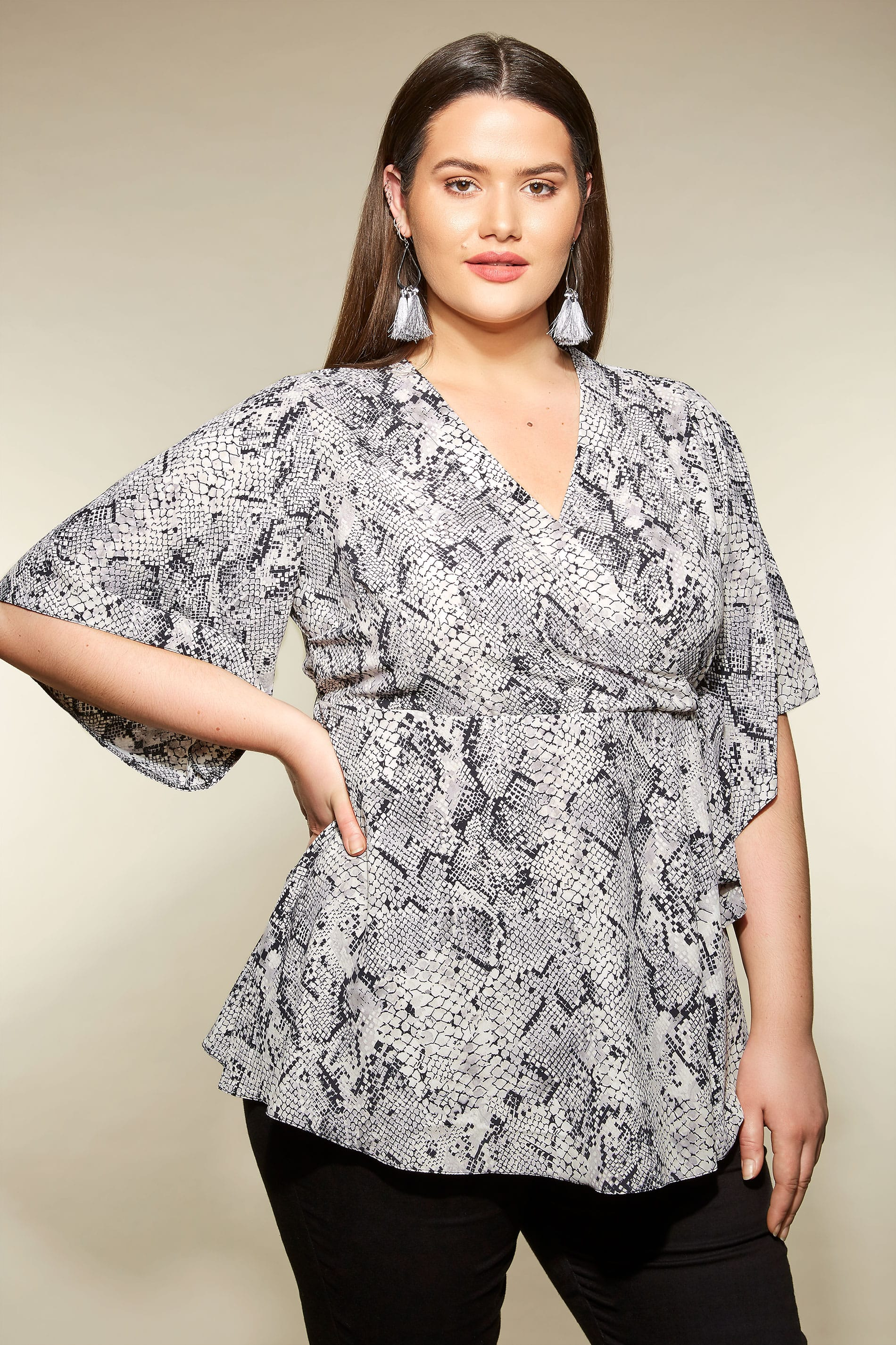 ae3305af267 YOURS LONDON Grey Snake Print Wrap Blouse With Kimono Sleeves