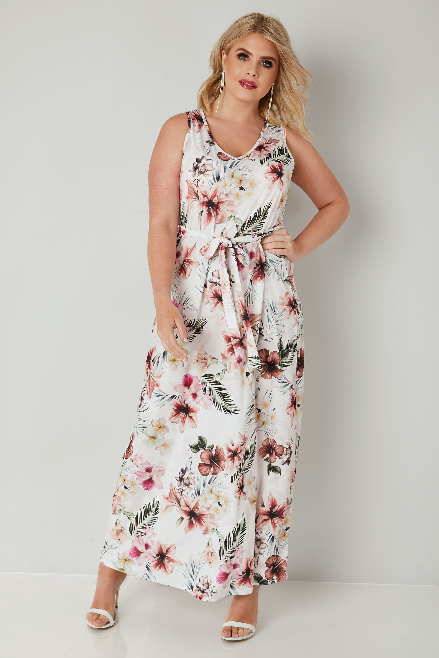 e44eb7a8181 YOURS LONDON Ivory Tropical Maxi Dress With Tie Waist